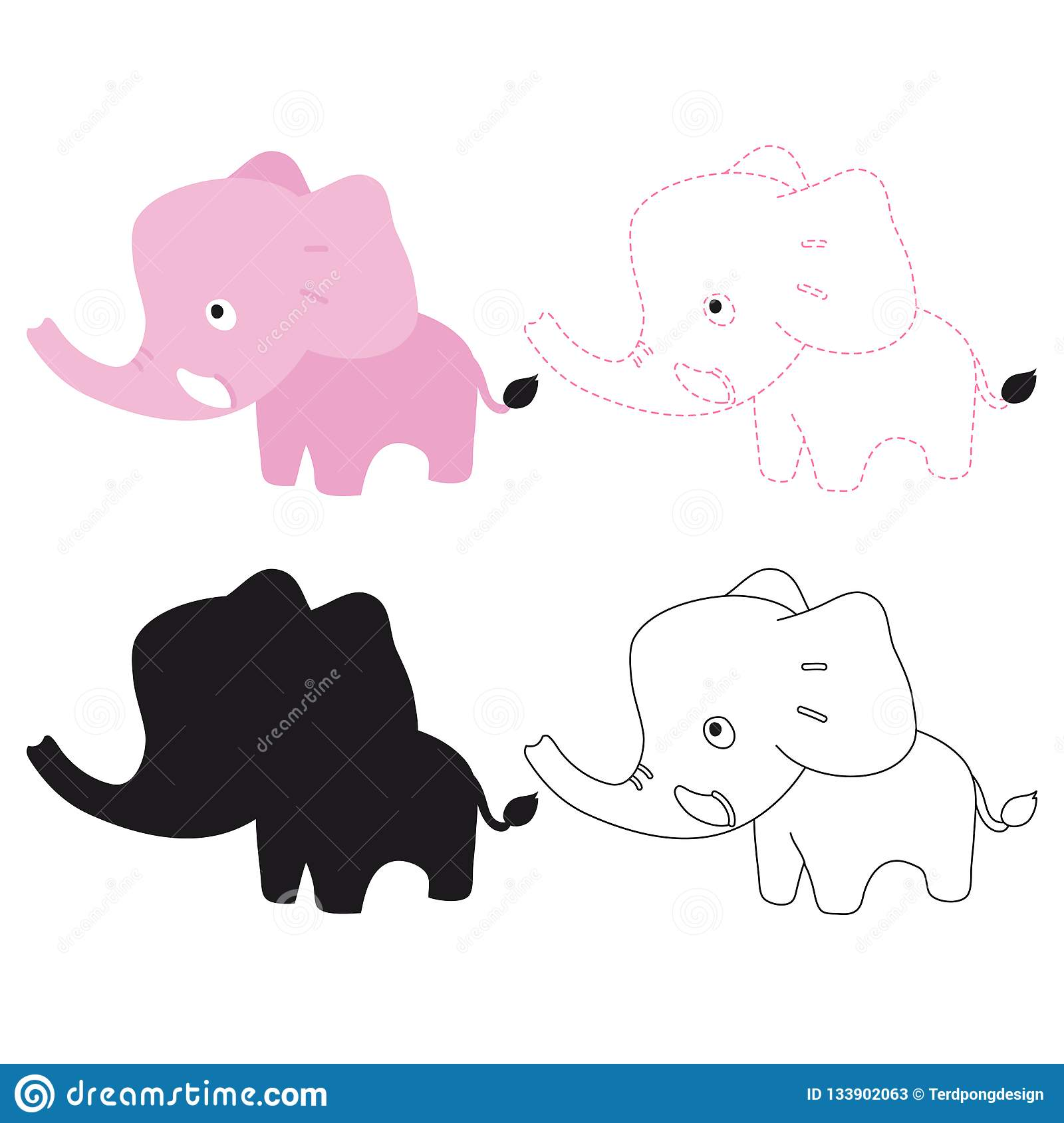 Elephant Worksheet Vector Design Stock Vector