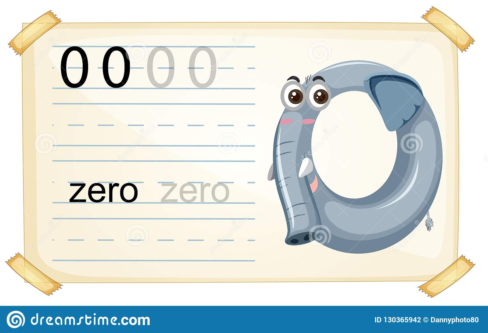 Elephant Zero Number Worksheet Stock Vector