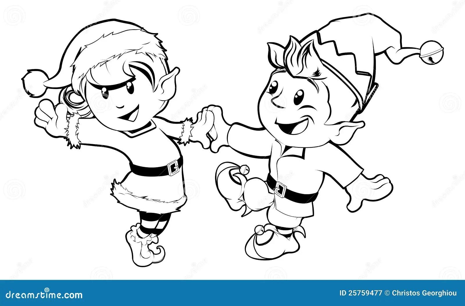 Elves Christmas Dancing Stock Vector Illustration Of