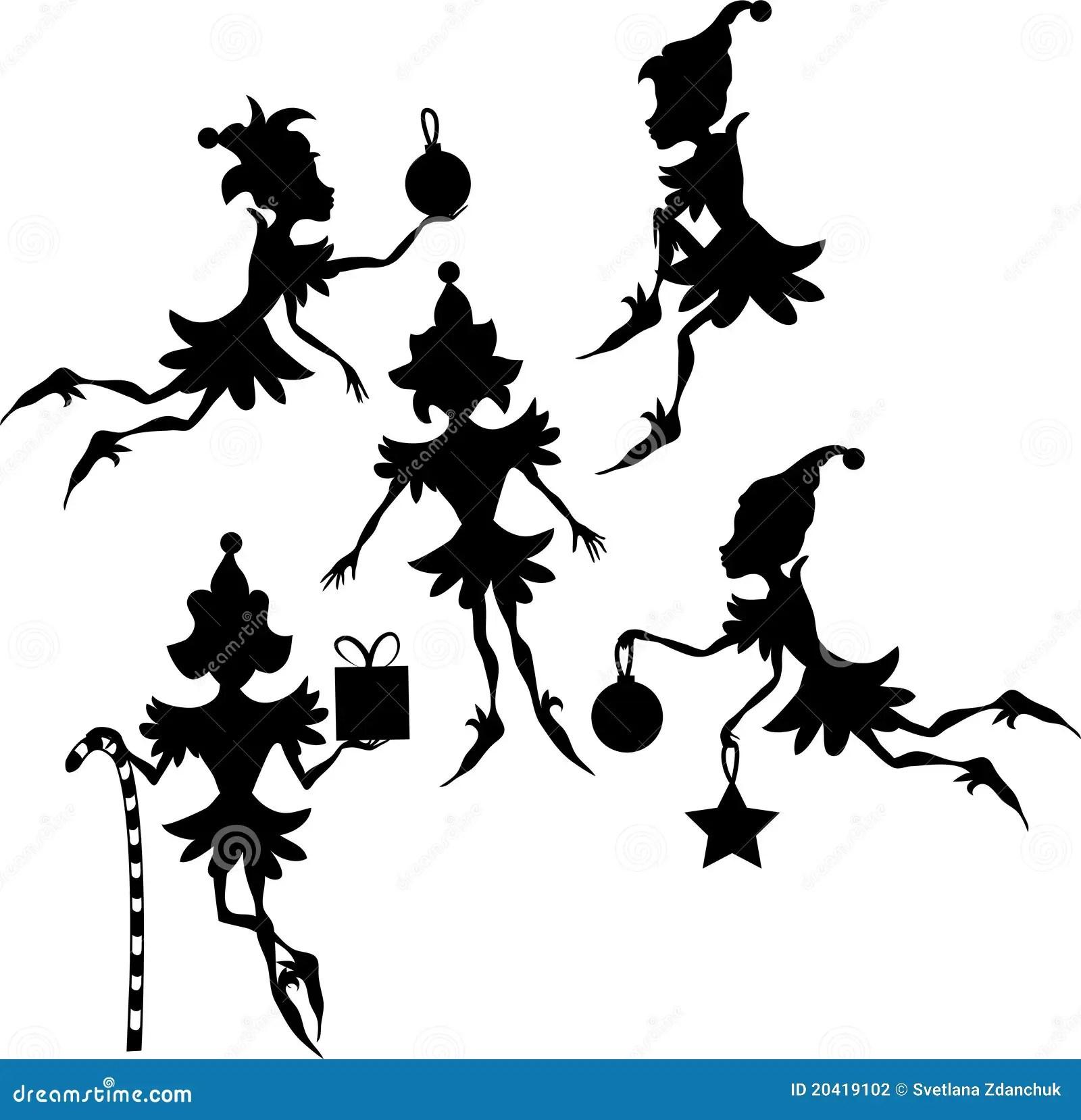 Elves Silhouettes Stock Illustration Illustration Of