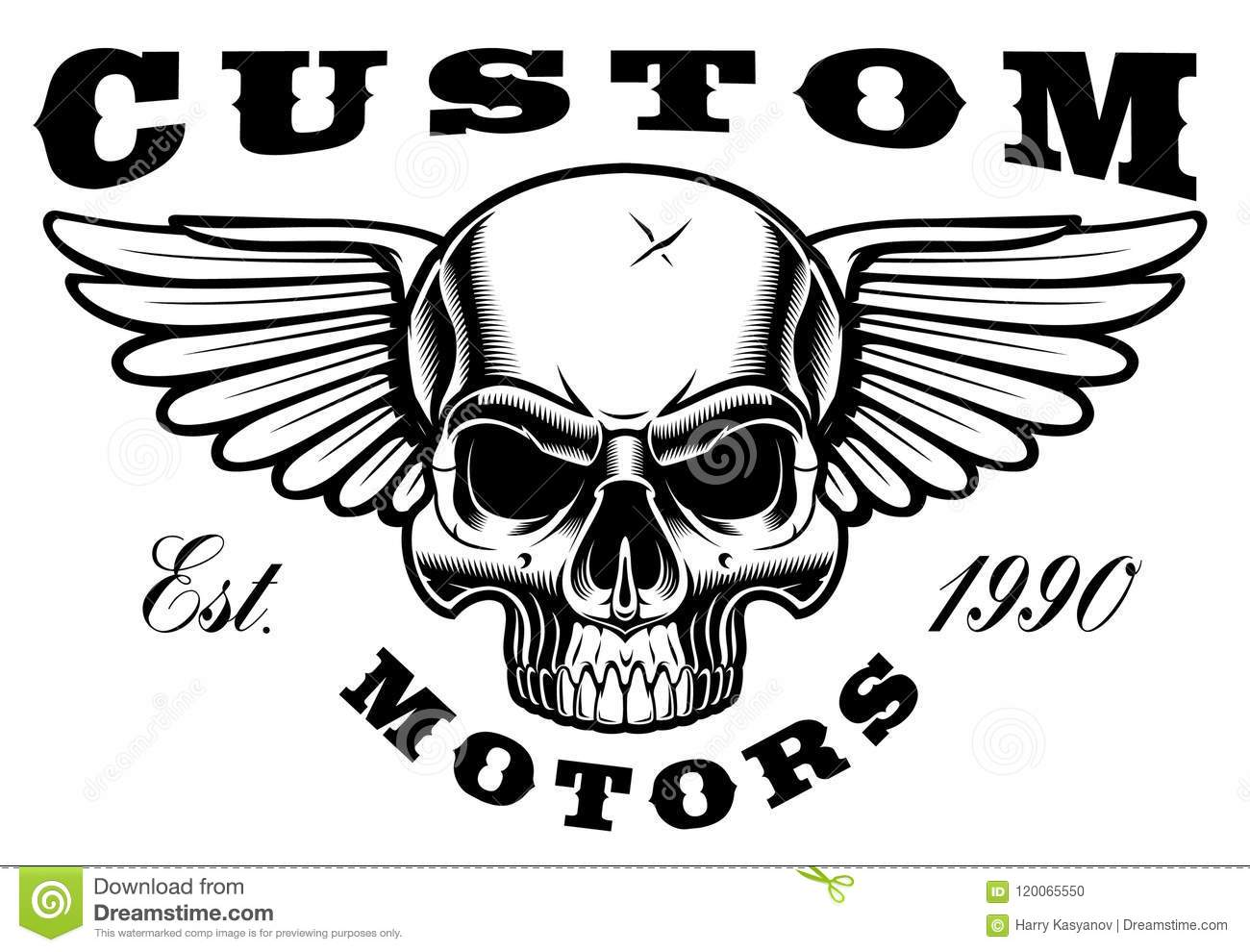 Skull With Wings Stock Vector Illustration Of Motor