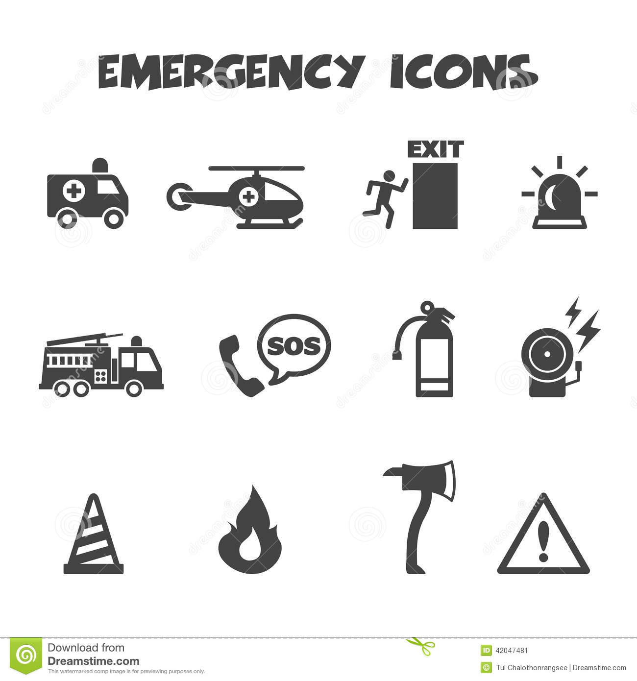 Emergency Exit And Fire Truck Vector Illustration