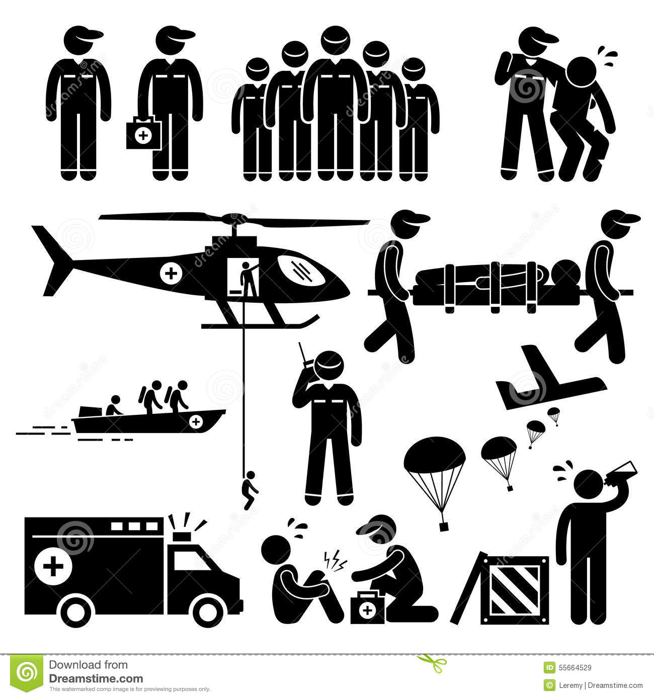 Emergency Rescue Team Clipart Stock Vector
