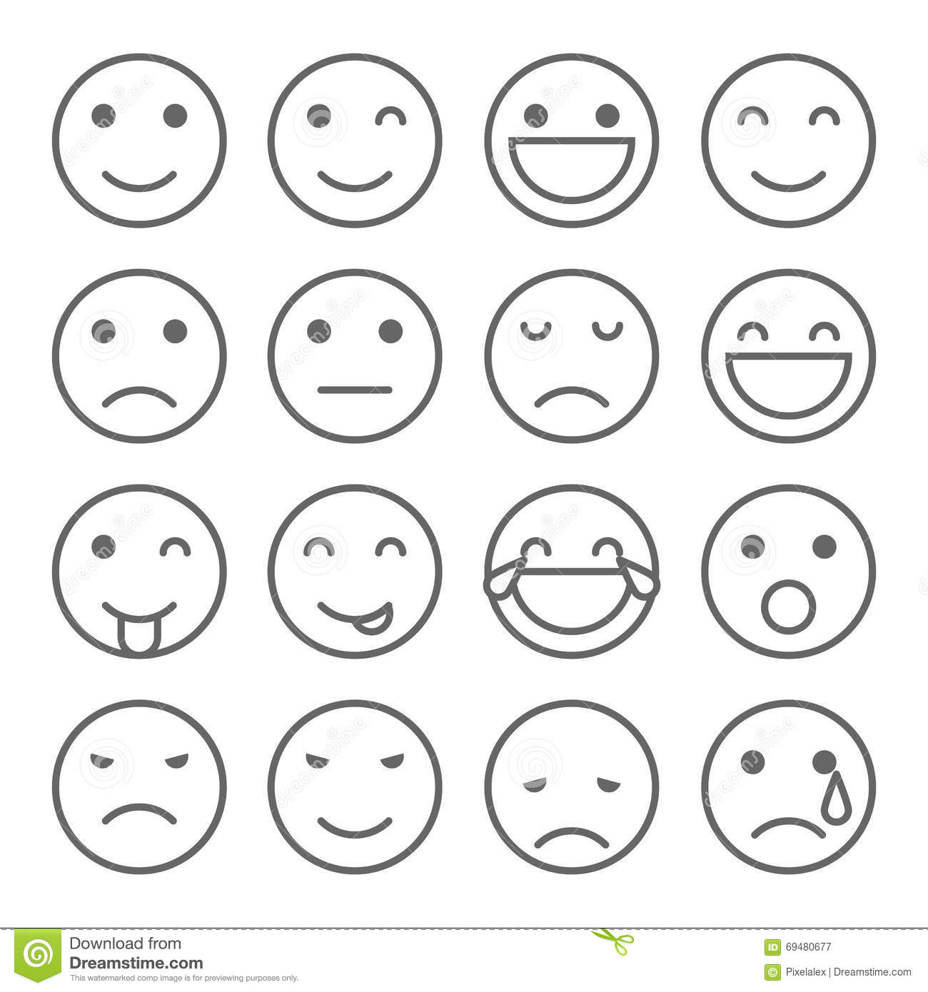 Emoji Faces Simple Icons Stock Vector Illustration Of