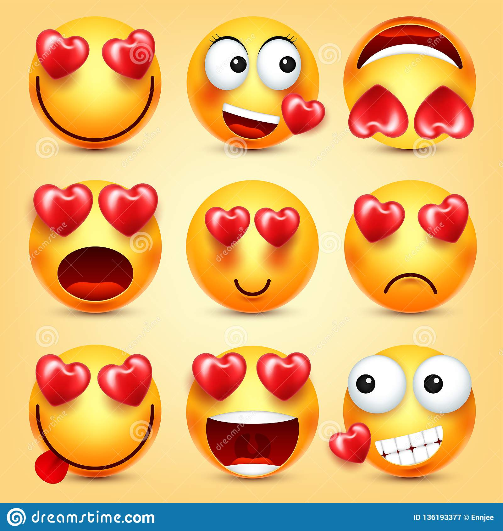 Emoji Smiley With Red Heart Vector Set Valentines Day Yellow Cartoon Emoticons Face Love