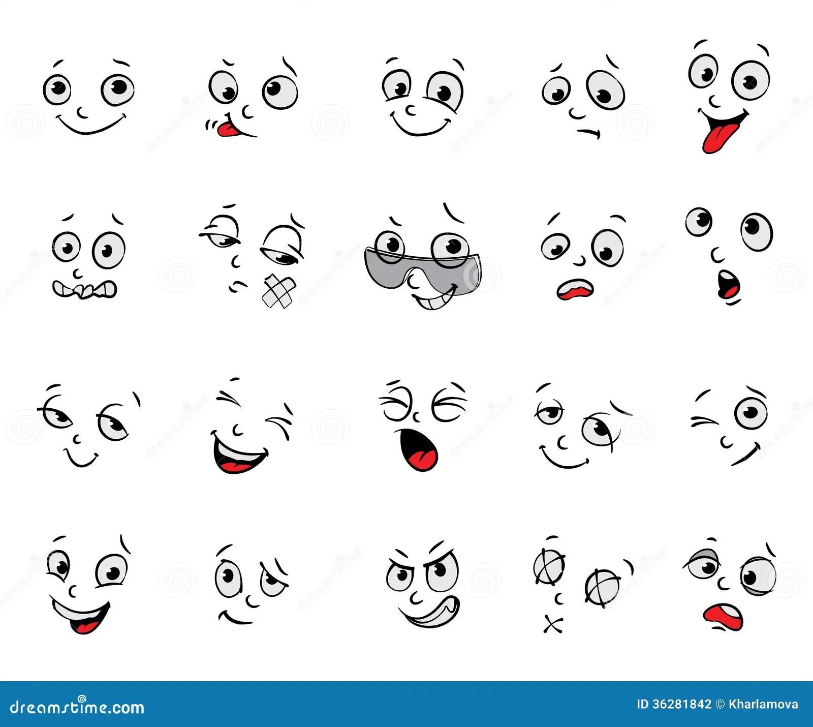 Emozioni Espressioni Facciali Del Fumetto Fissate Illustrazione Vettoriale