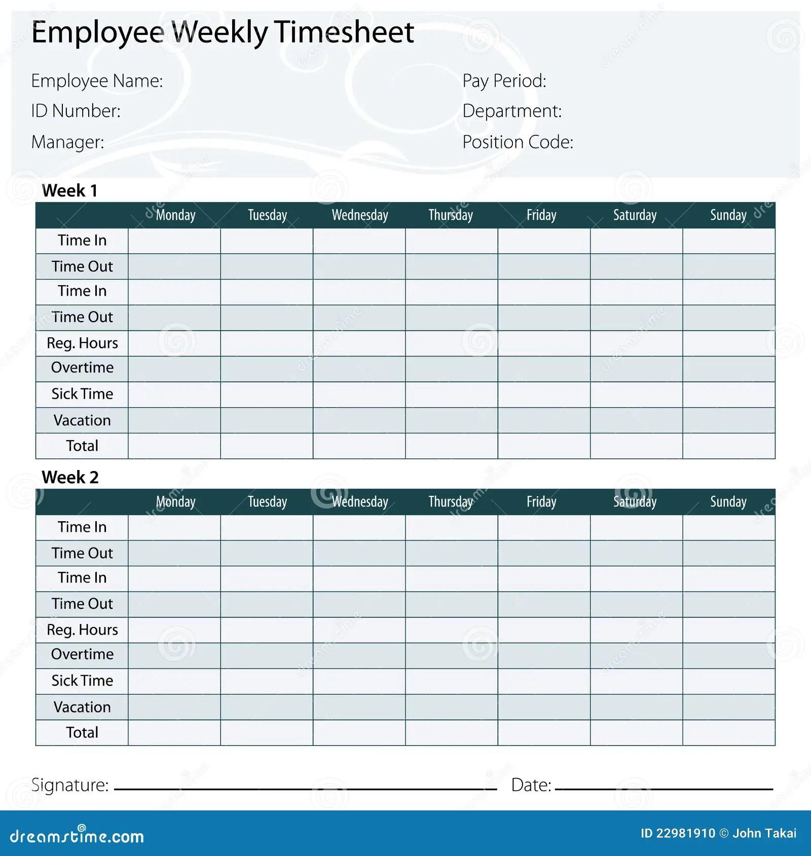 Employee Timesheet Template Stock Vector