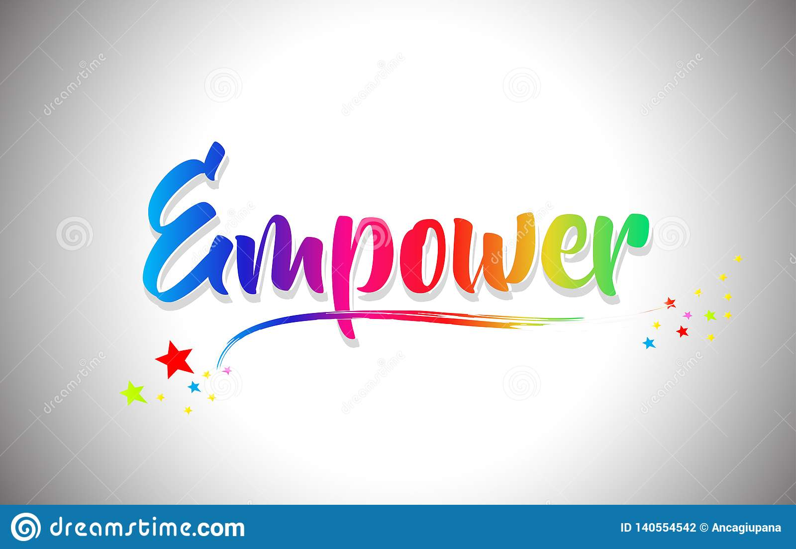 Empower Handwritten Word Text With Rainbow Colors And