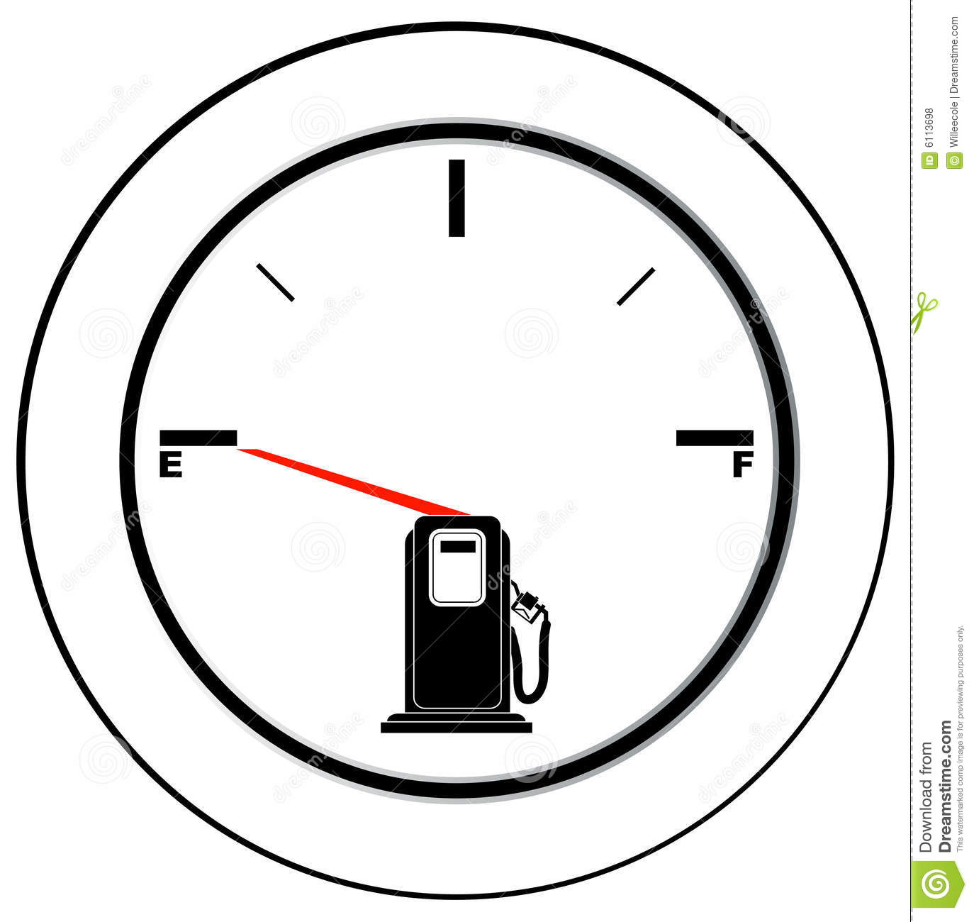 Empty Fuel Gauge Stock Vector Illustration Of