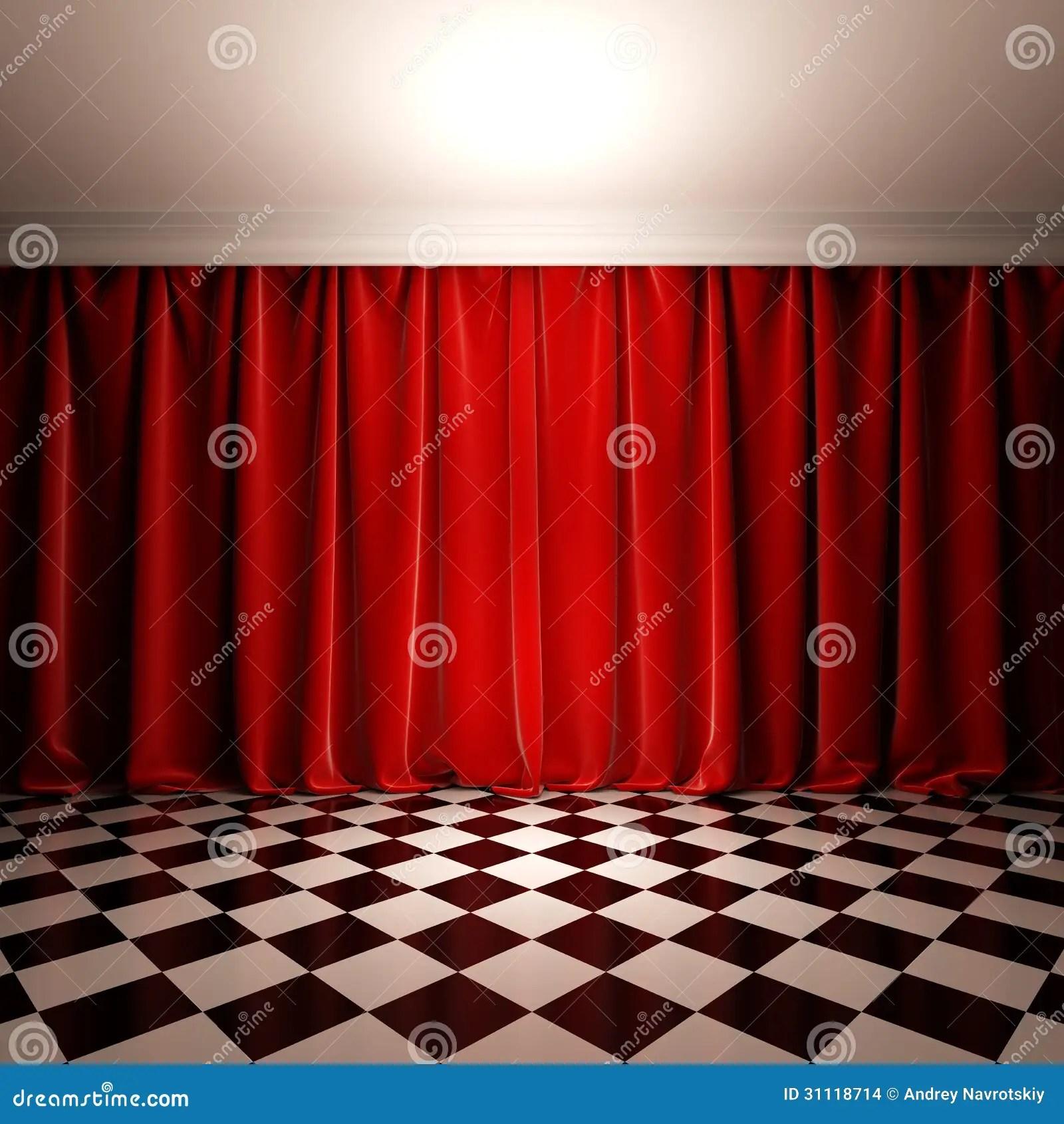 Empty Scene With Red Velvet Curtain Stock Illustration Image 31118714