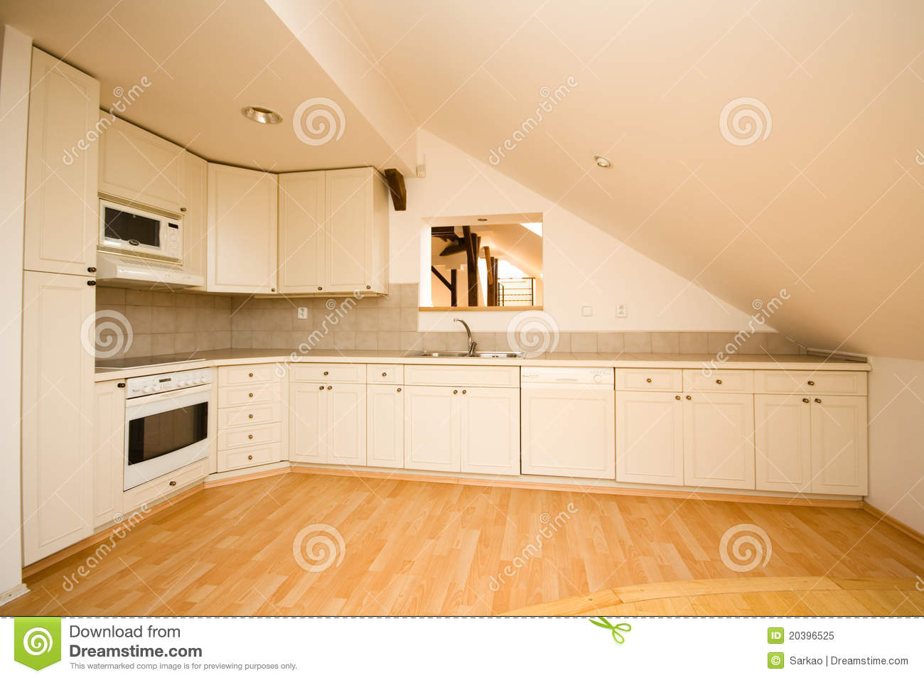 Empty White Kitchen Stock Image Image Of Classic Worktop