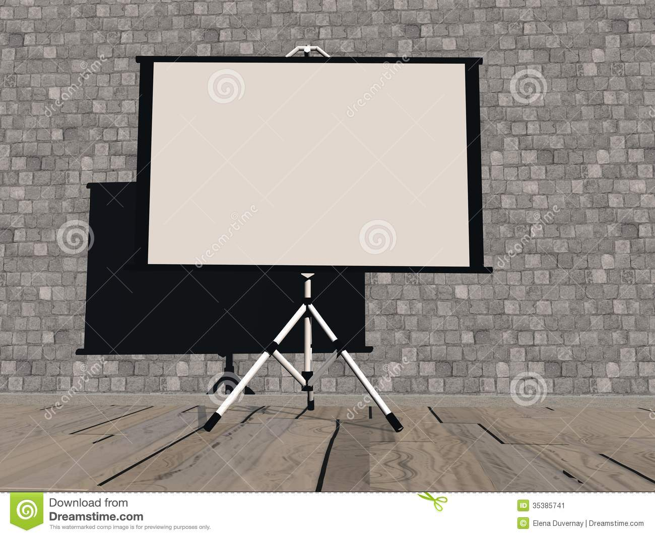 Empty White Projector Screen 3D Render Stock Image