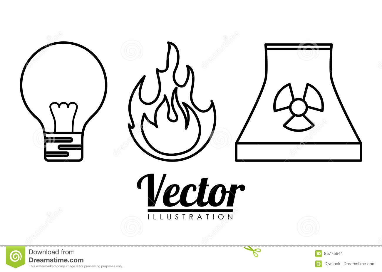 Energy Or Electricity Sources Icon Image Stock