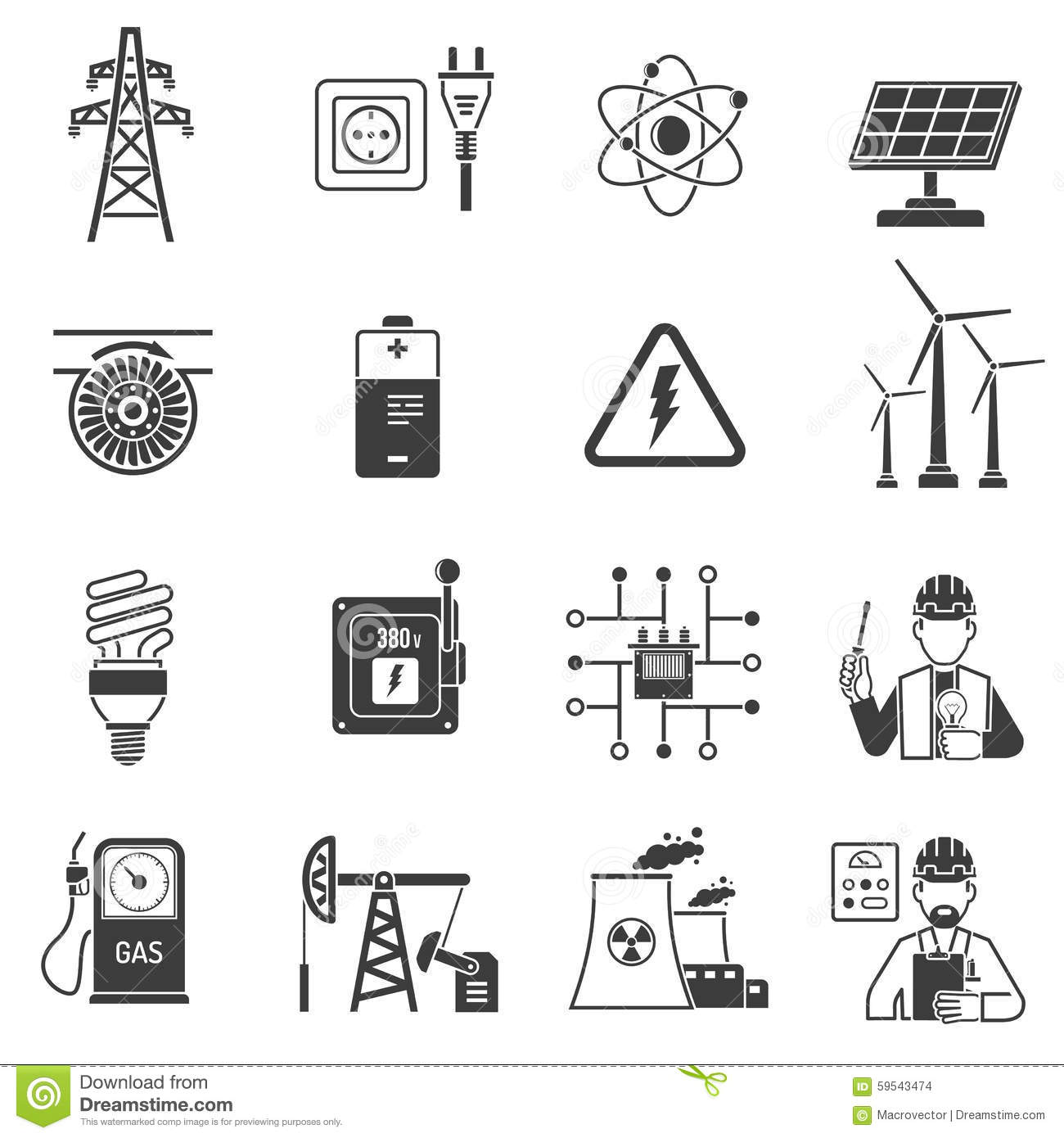 Energy And Power Icons Set Royalty Free Stock Photography