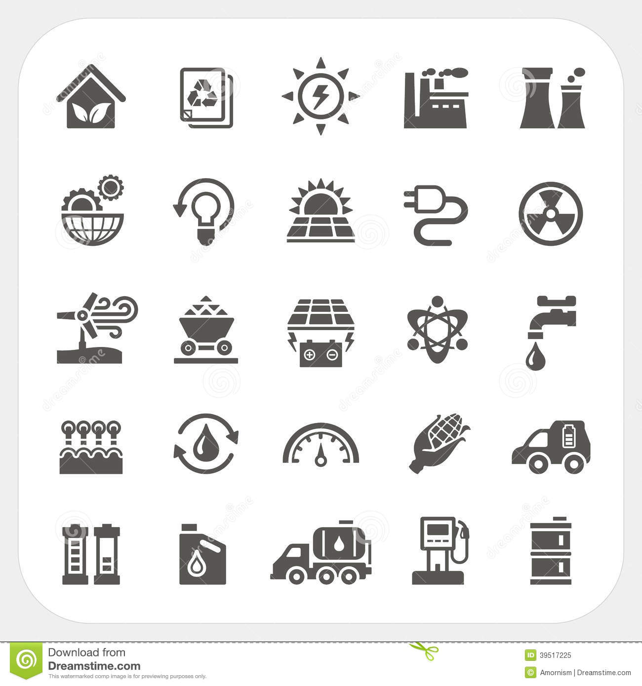 Energy And Power Icons Set Stock Vector Illustration Of
