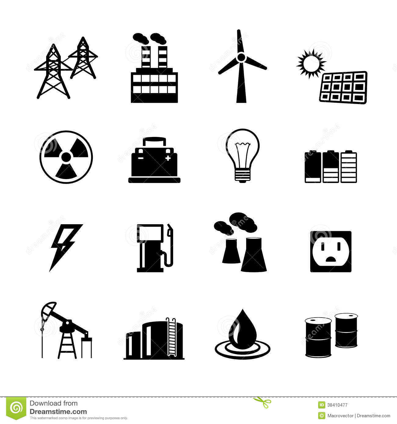 Energy Power Pictograms Collection Royalty Free Stock