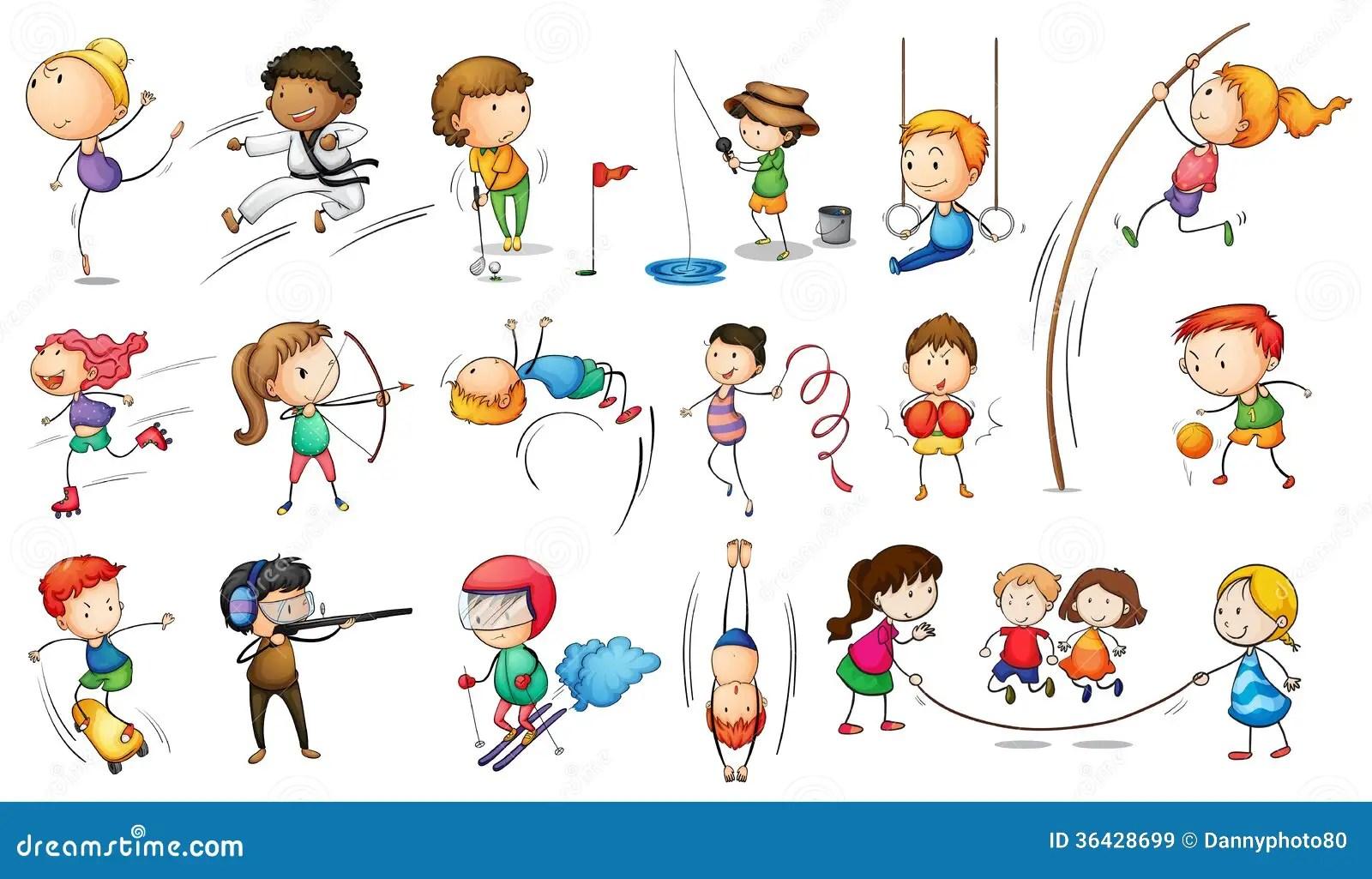 Enfants S Engageant Dans Differents Sports Images Libres