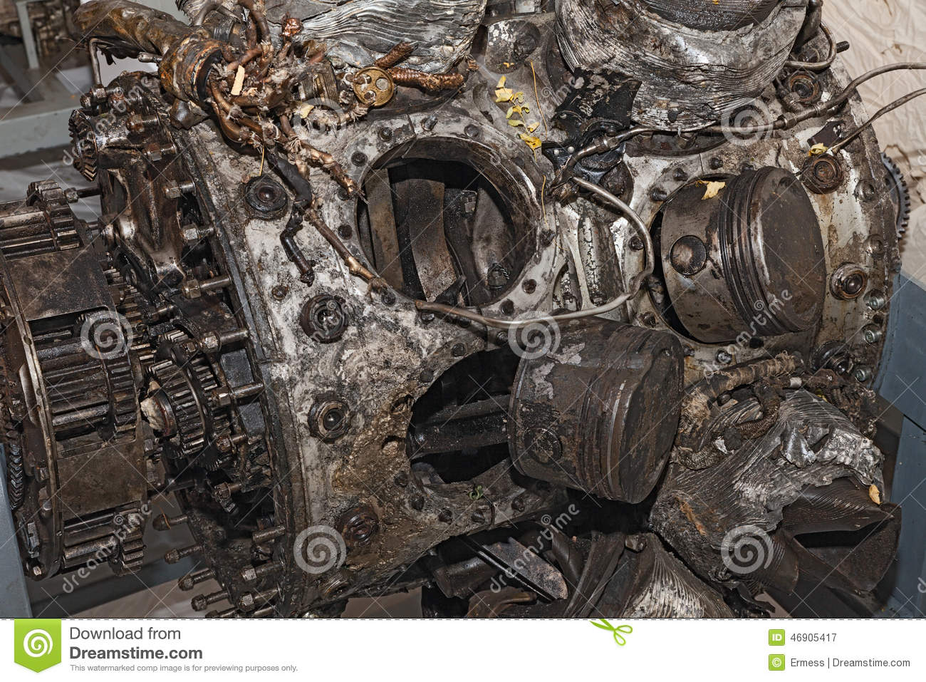 Engine Destroyed Of An Old Military Aircraft Stock Image