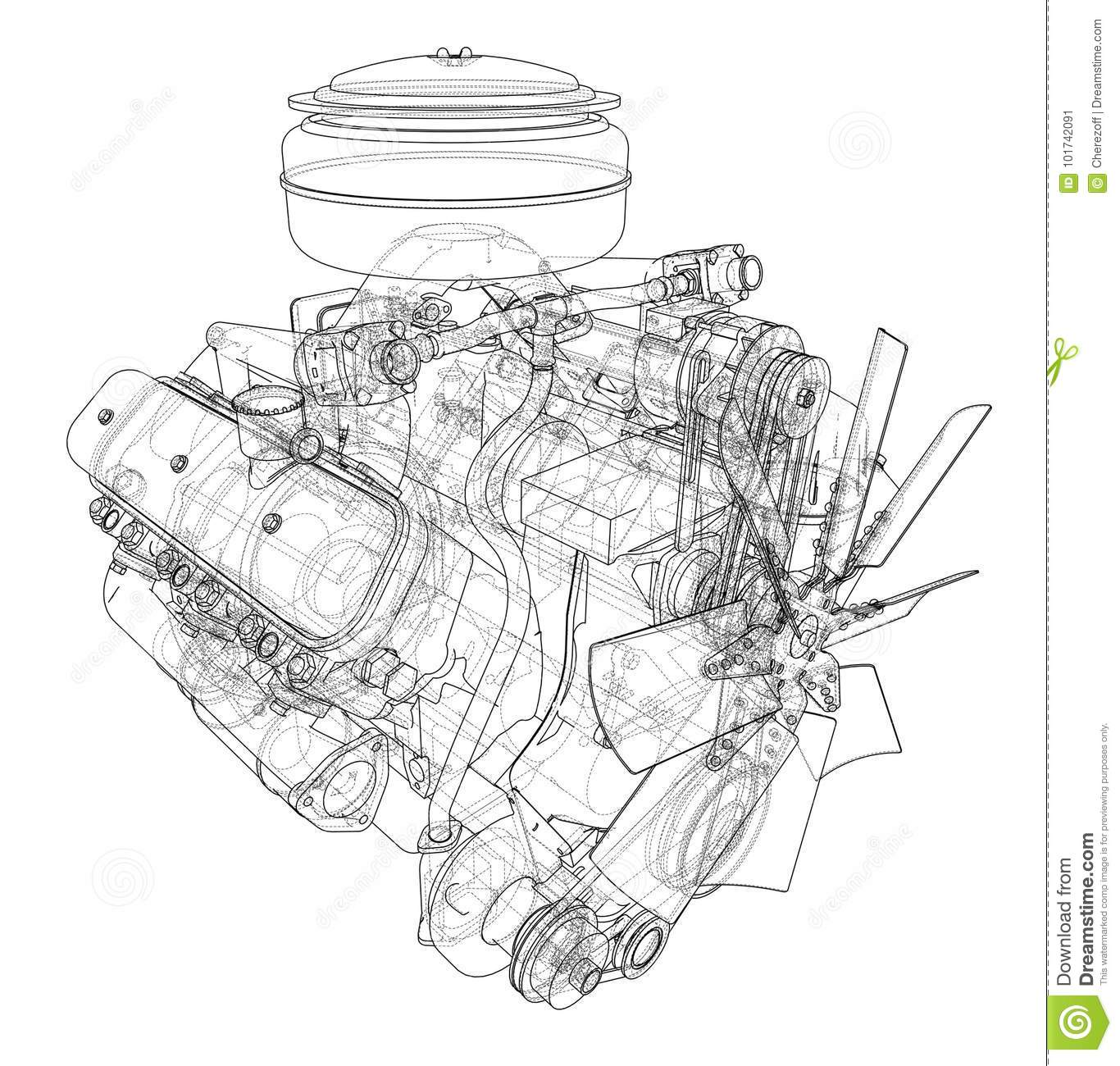Engine Sketch Vector Stock Vector Illustration Of Draw