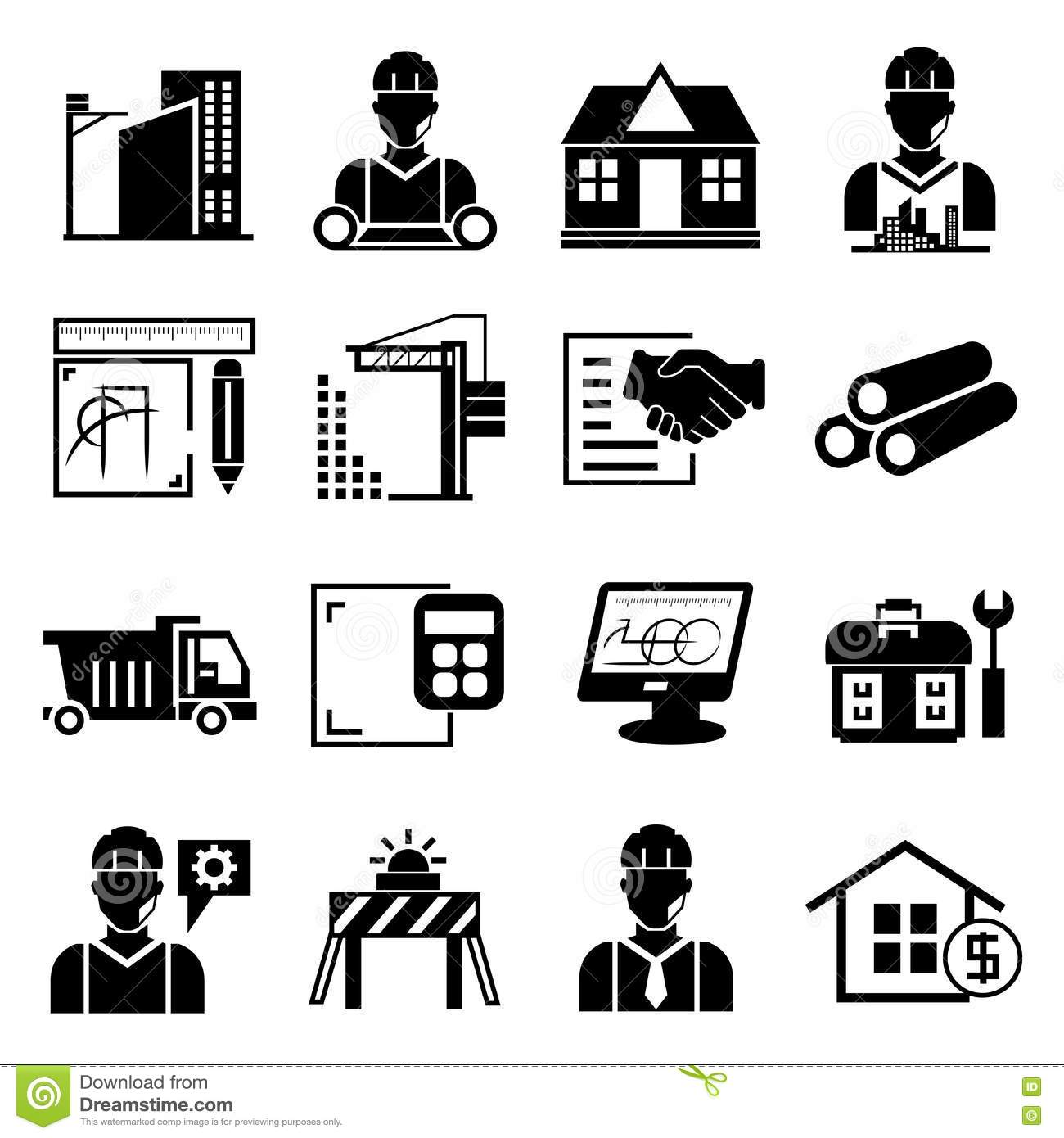 Engineering And Construction Icons Stock Illustration