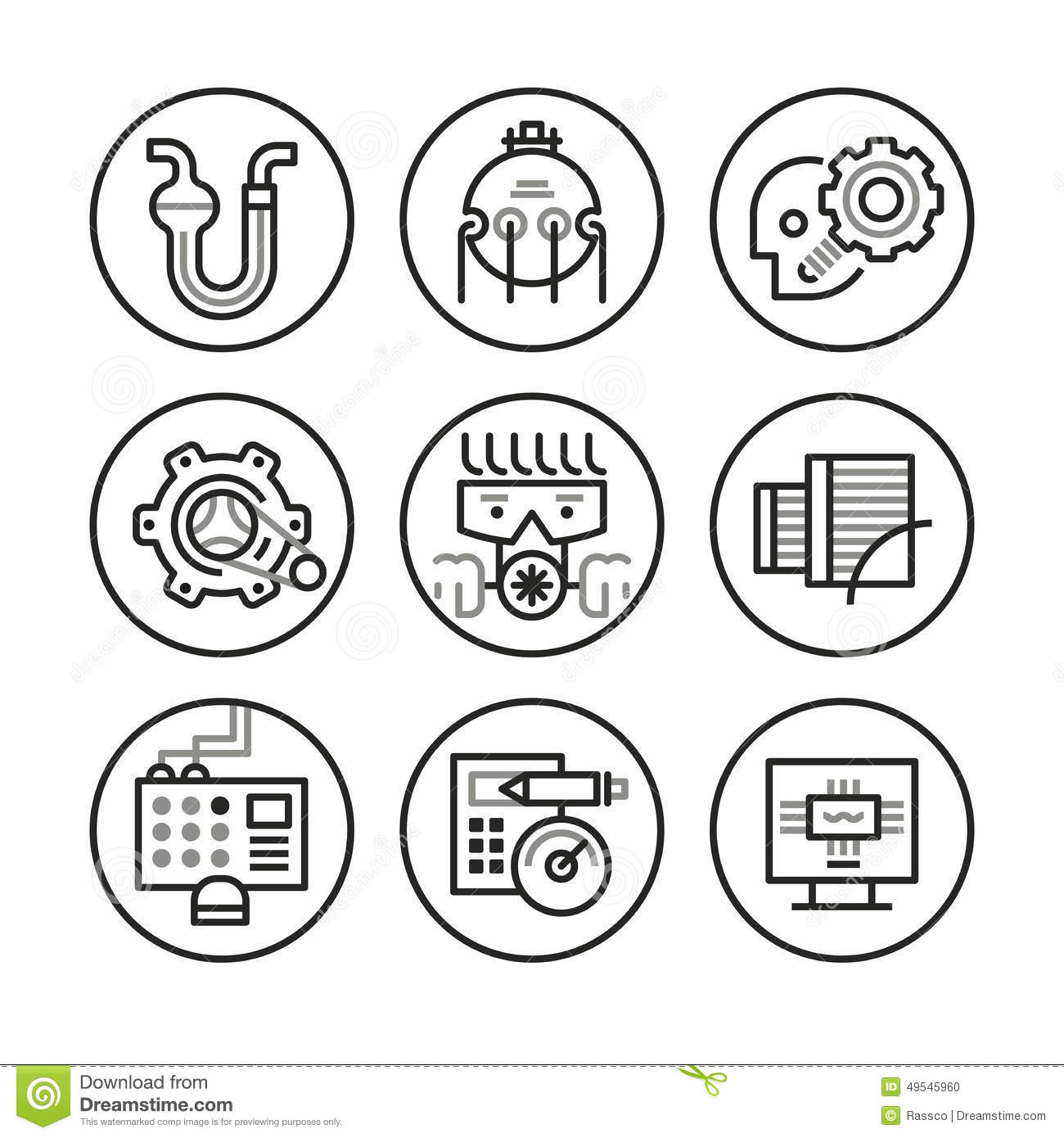 Engineering Icons Stock Vector Illustration Of Machinery