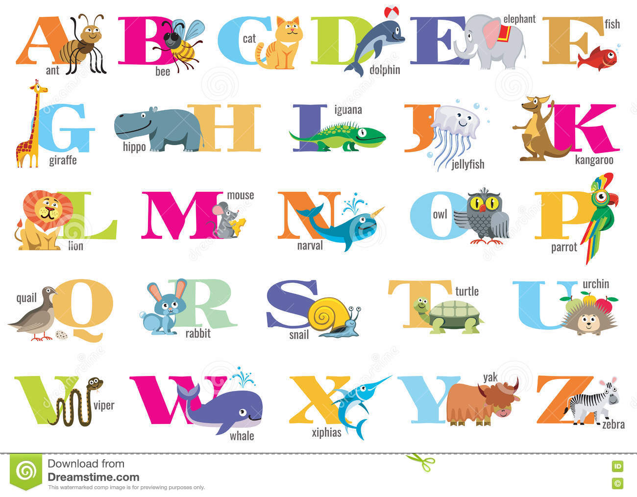 English Alphabet For Children With Cute Animals Stock