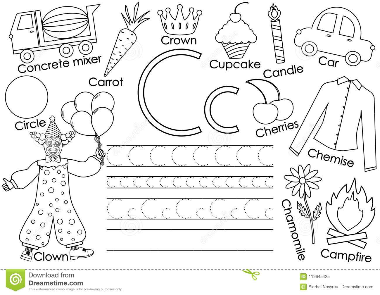 English Alphabet Letter C Card With Pictures And Writing Practice Stock Vector