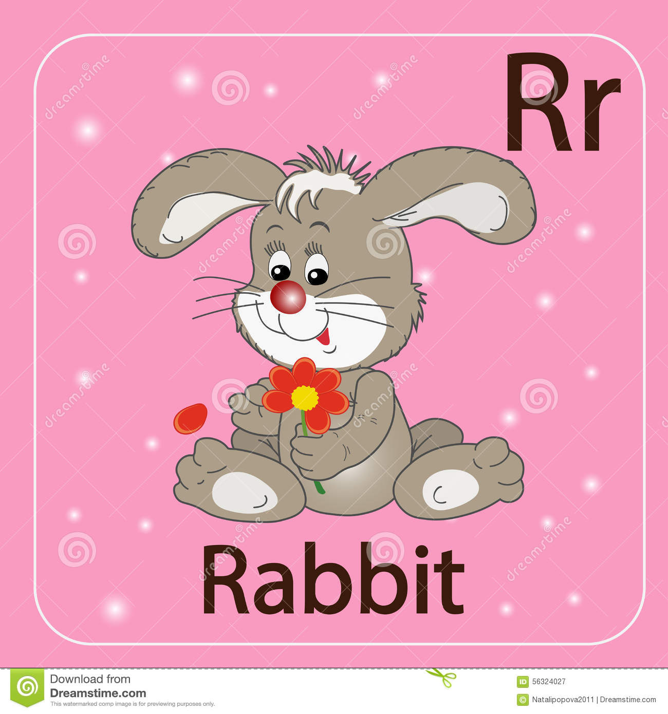 The English Letter R And A Rabbit Stock Vector