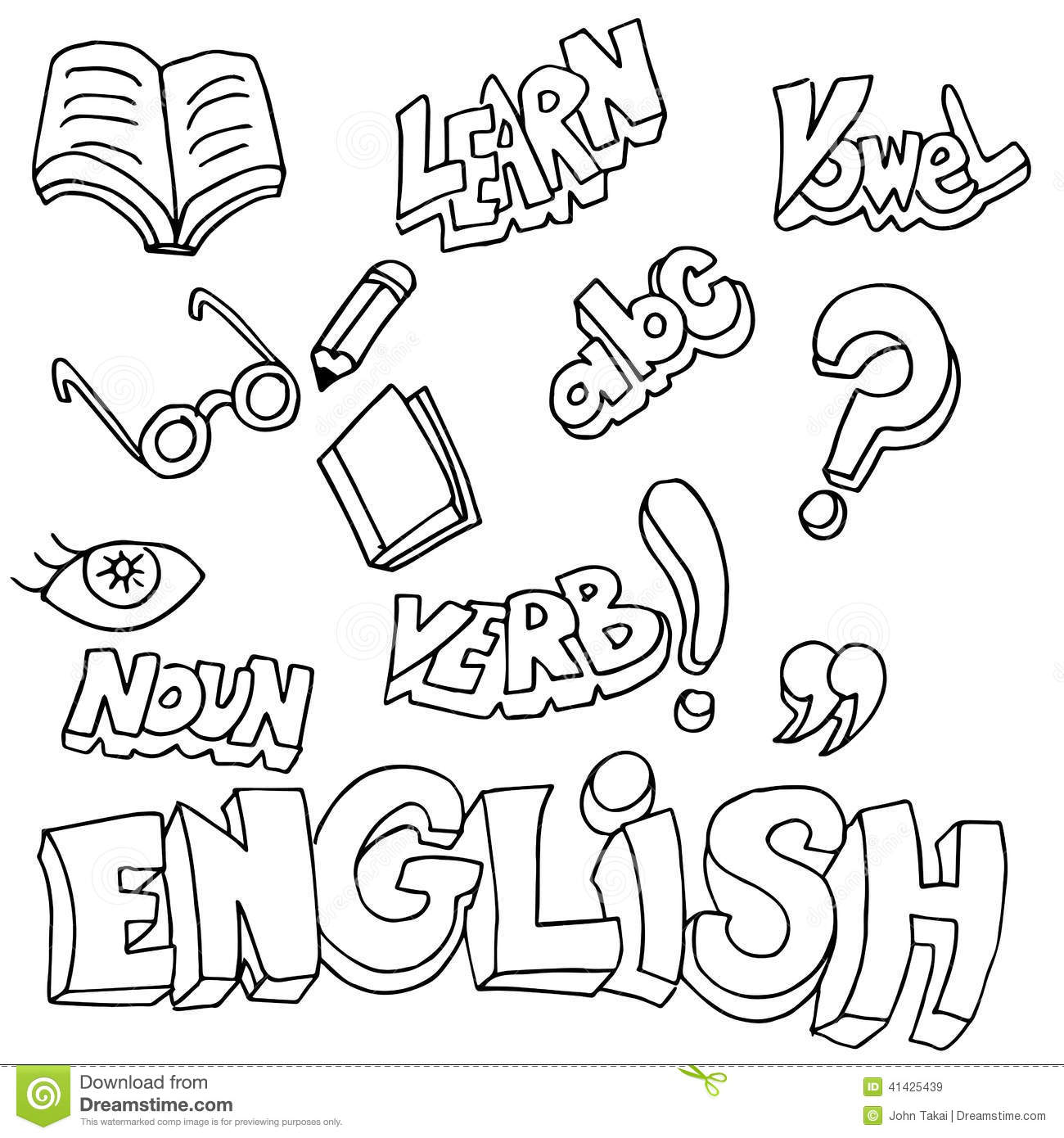 English Symbols And Learning Items Stock Vector