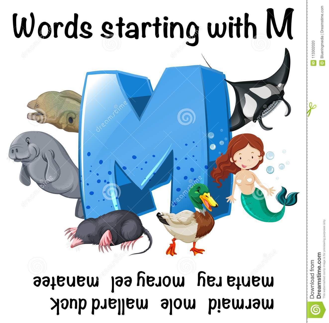 English Worksheet For Words Starting With M Stock Vector