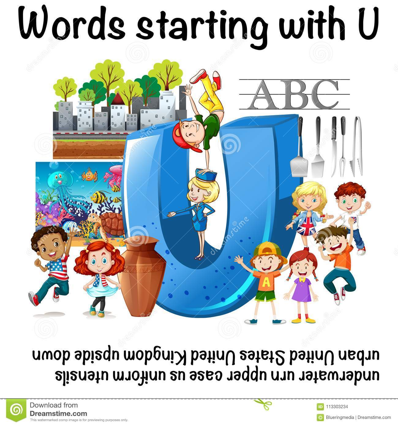English Worksheet For Words Starting With U Stock Vector