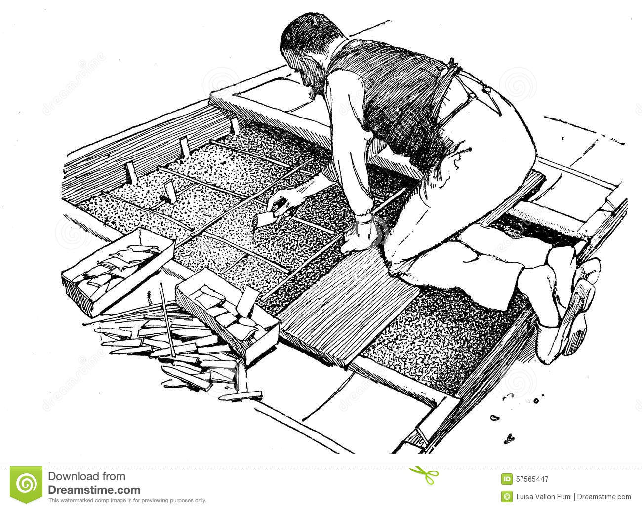 Engraving Of Farmer Planting Seeds In A Small Greenhouse