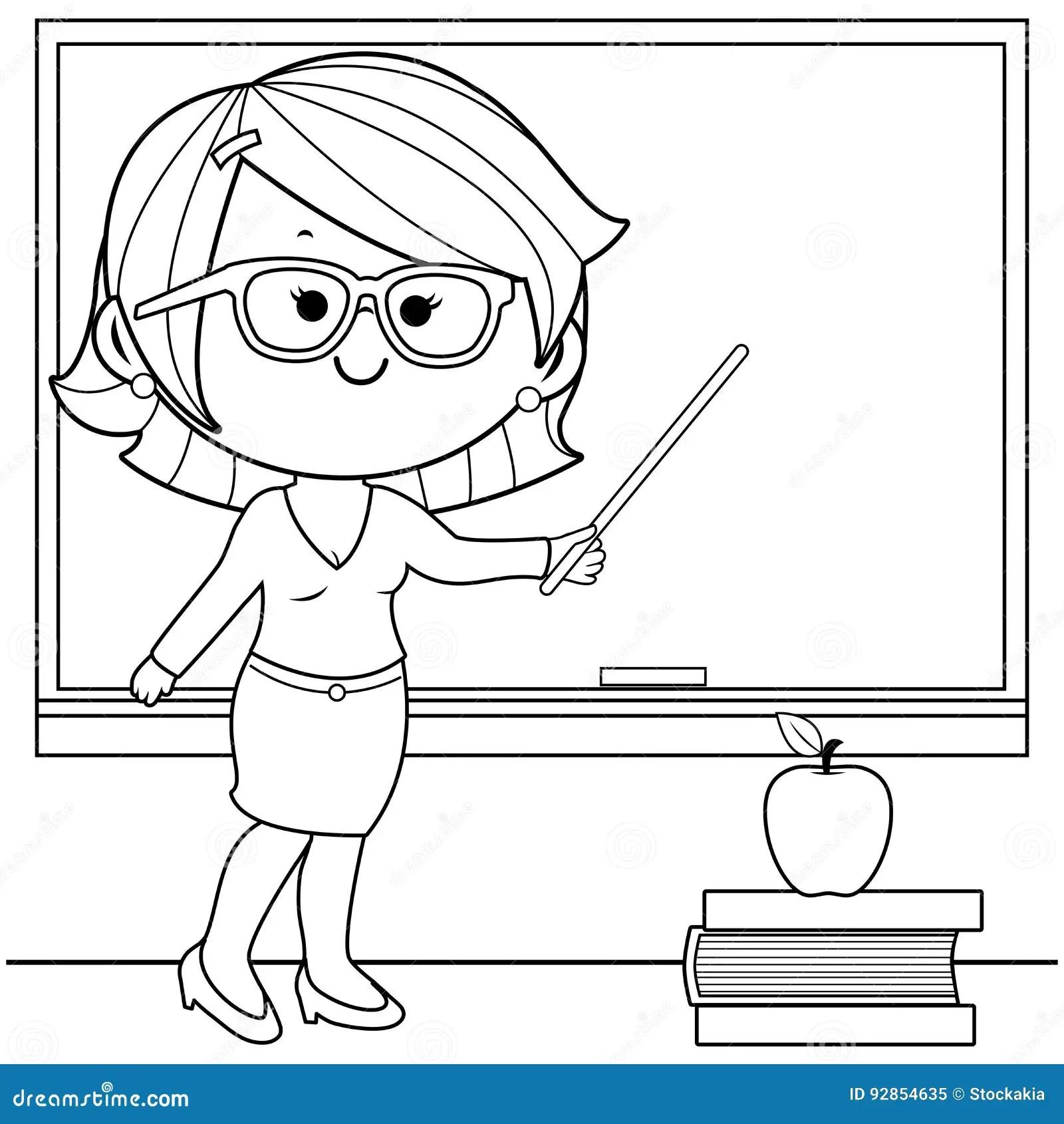 Enseignement De Professeur A La Page De Livre De Coloriage