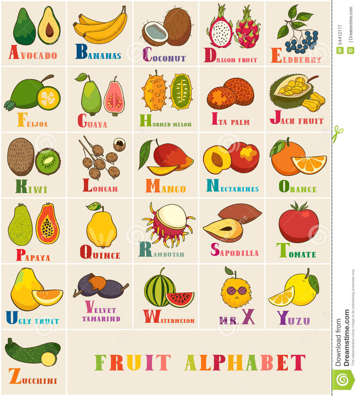 Ensemble D Alphabet Et De Vecteur De Fruit Illustration De
