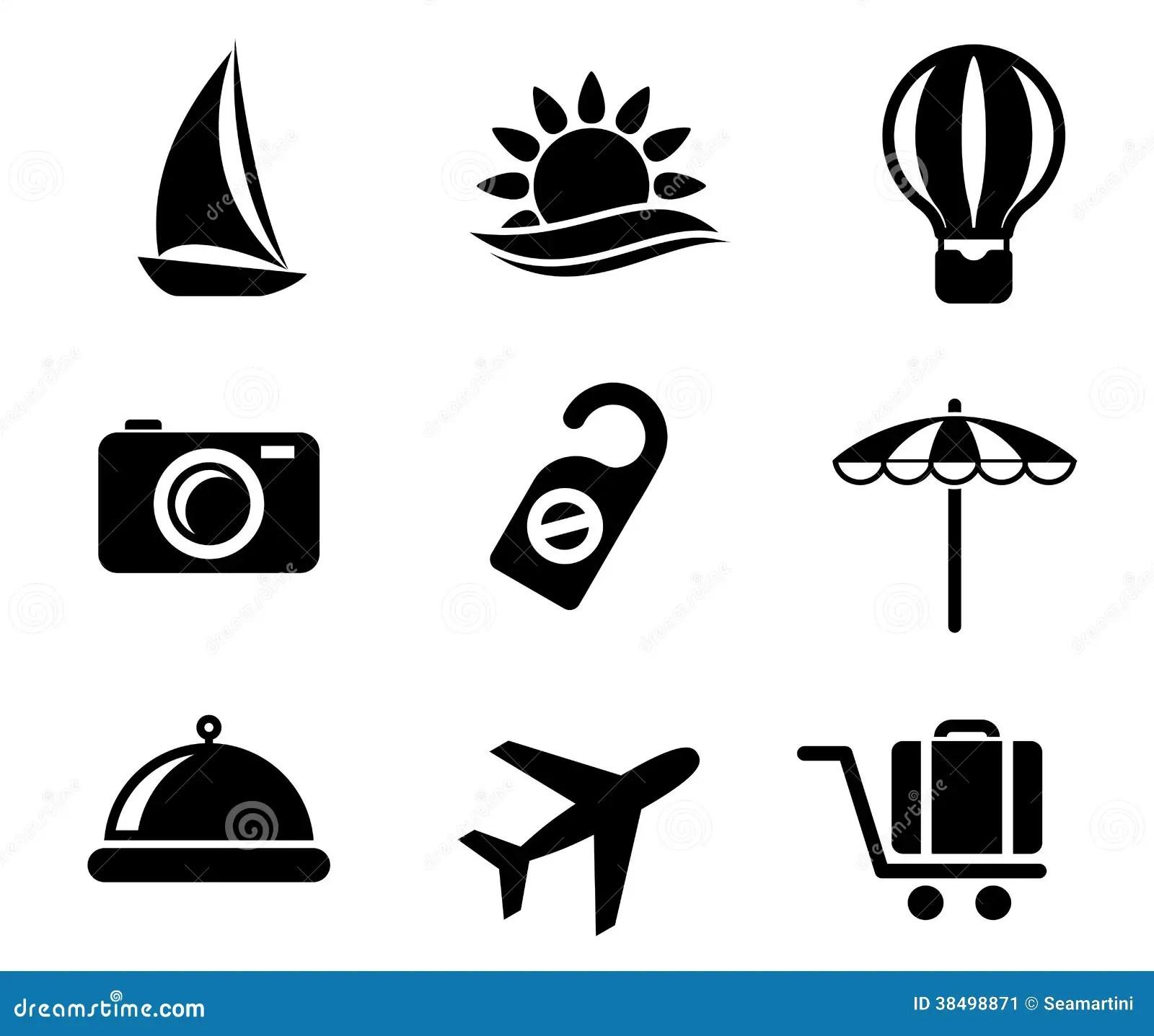 Ensemble D Icones De Voyage Et De Tourisme Image Stock