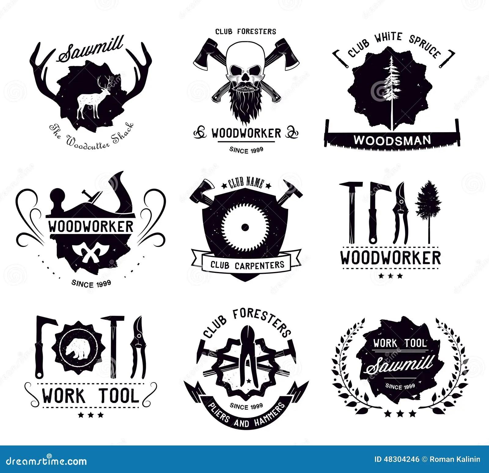 Ensemble D Outils Et De Forestiers De Menuiserie De