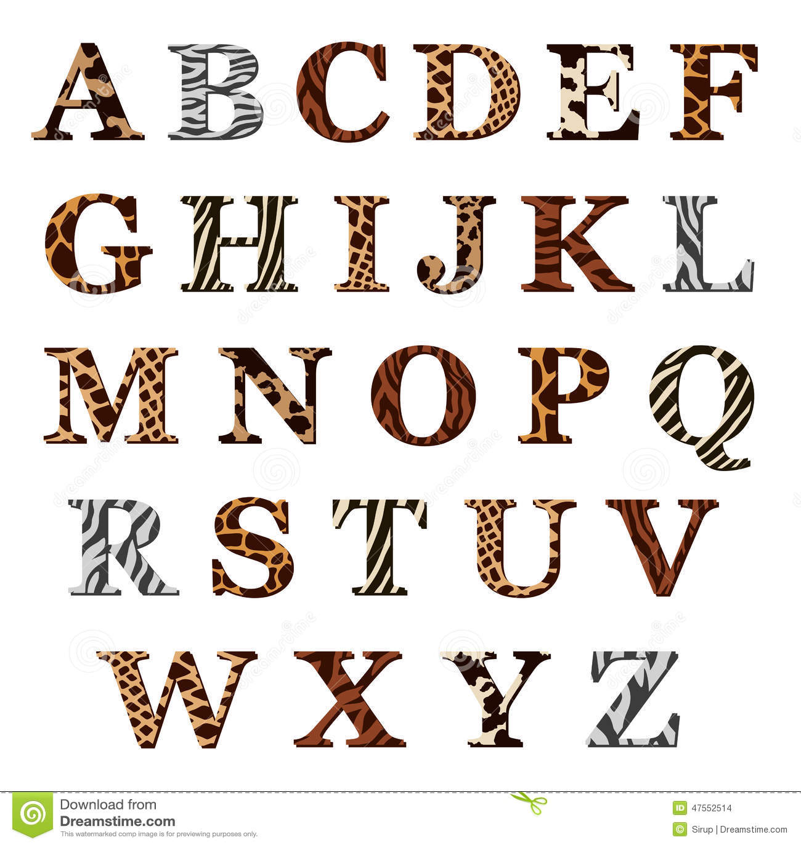 Ensemble De Lettres D Alphabet Avec Les Modeles Animaux De
