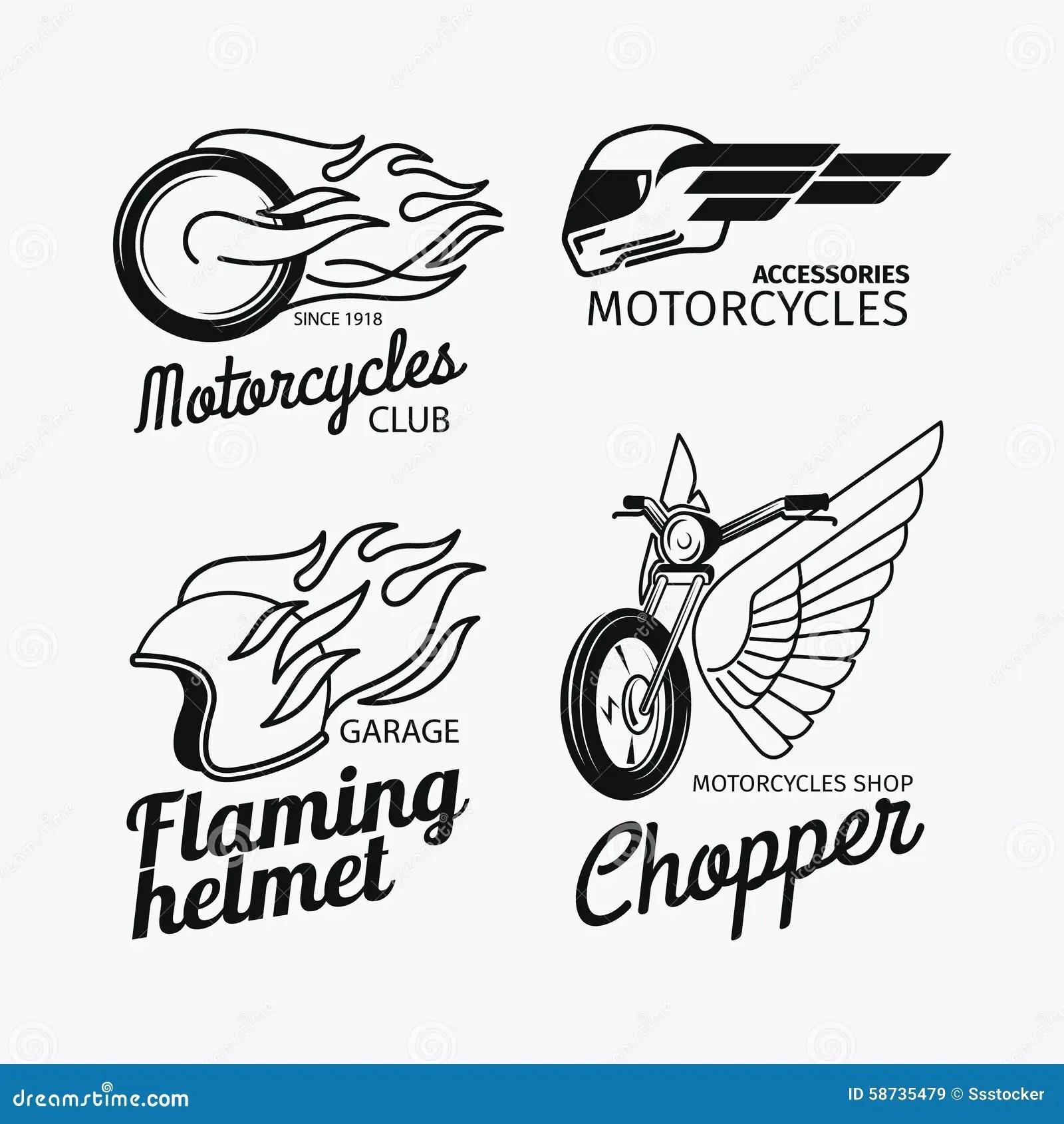 Ensemble De Logo De Course De Moto Illustration De Vecteur