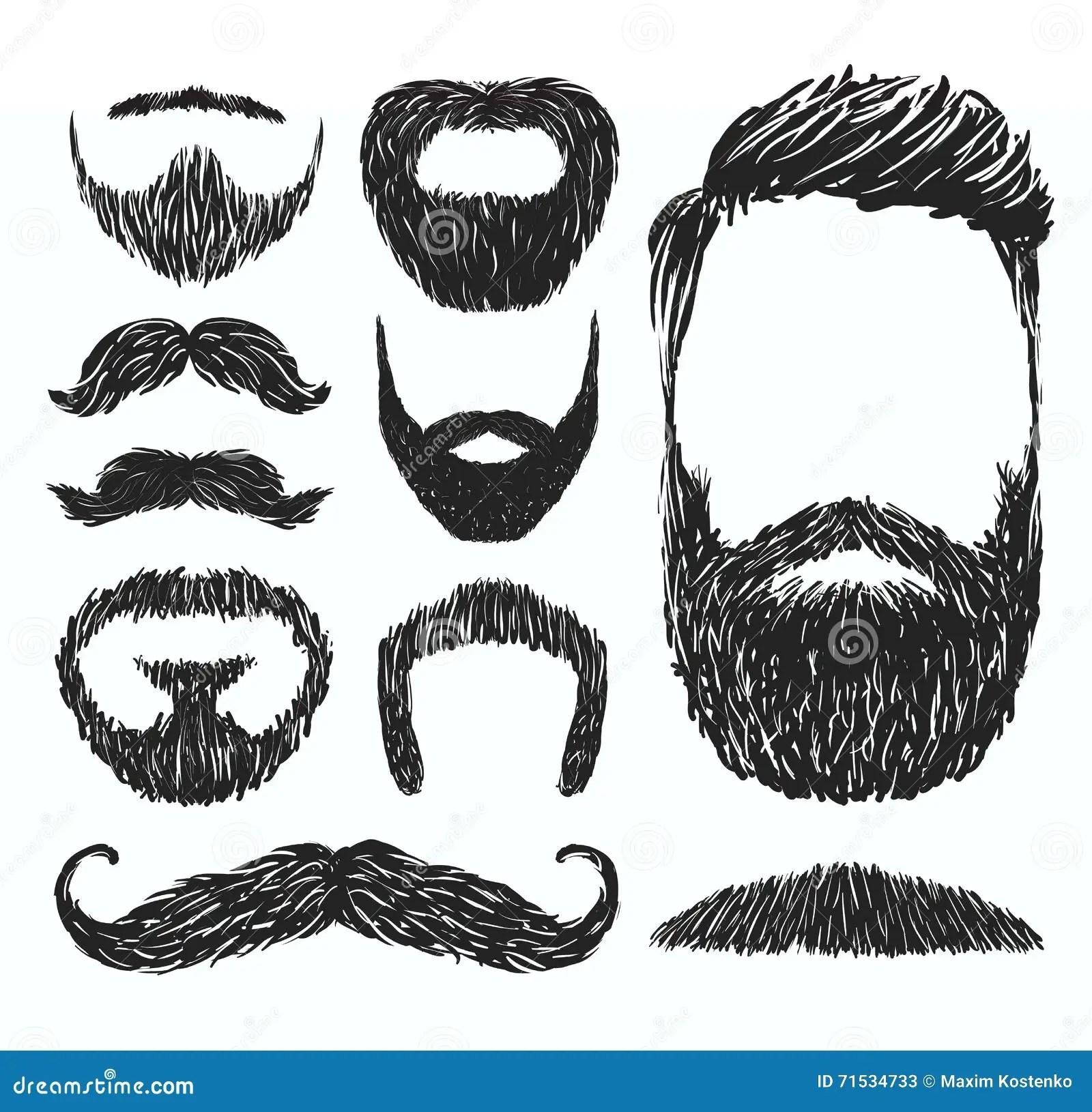 Ensemble De Silhouettes De Moustache Et De Barbe