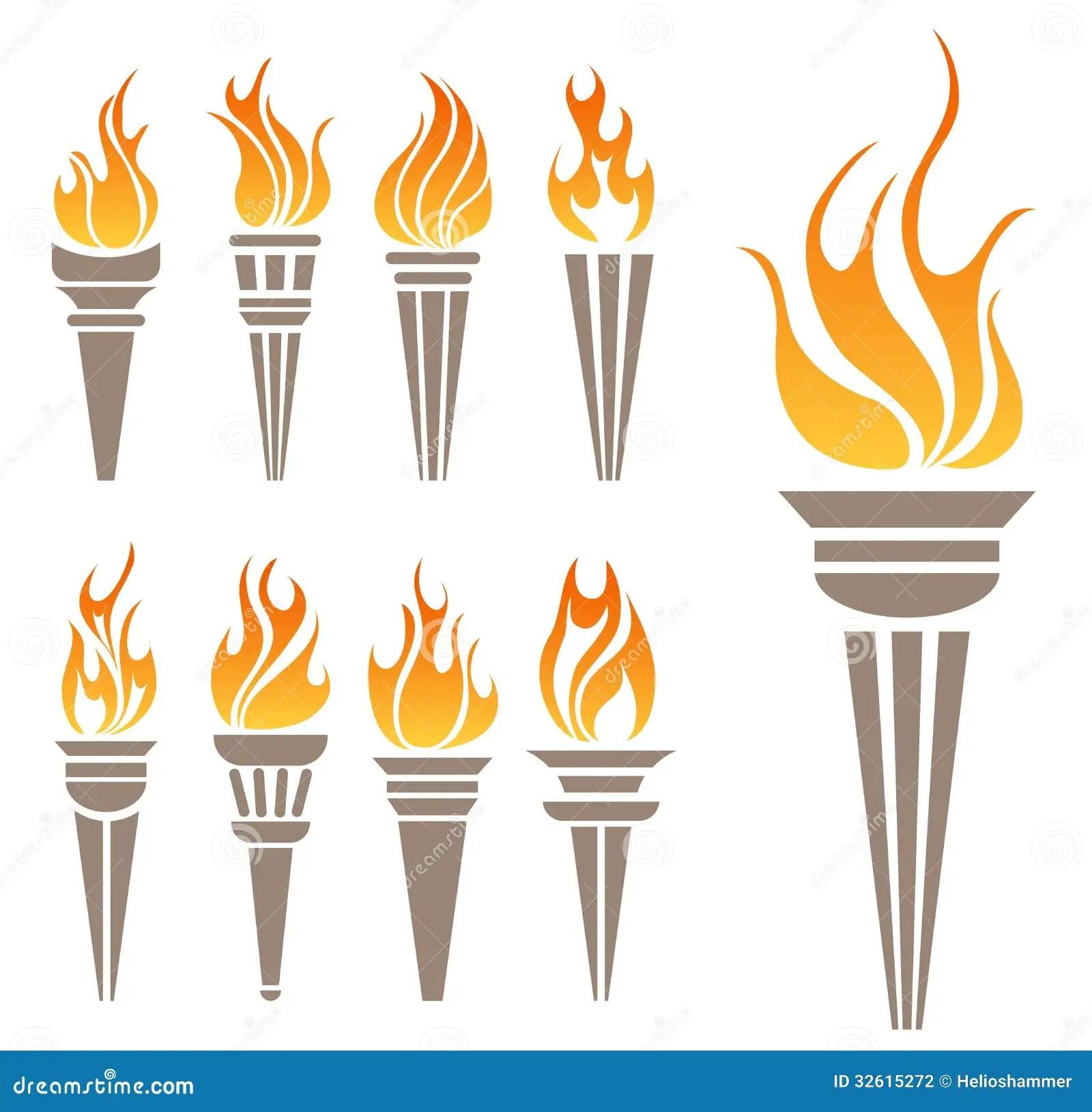 Ensemble De Symbole De Torche Photographie Stock Image