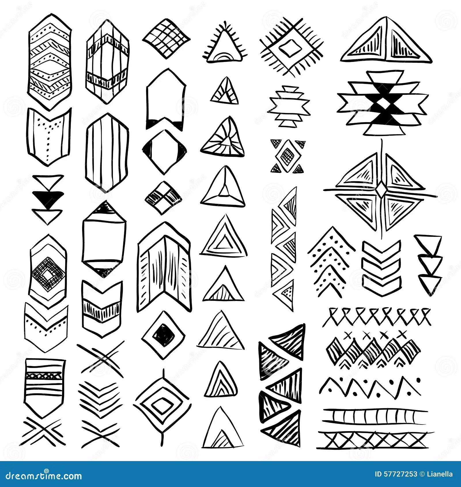 Ensemble De Symboles Tire Par La Main De Natif Americain