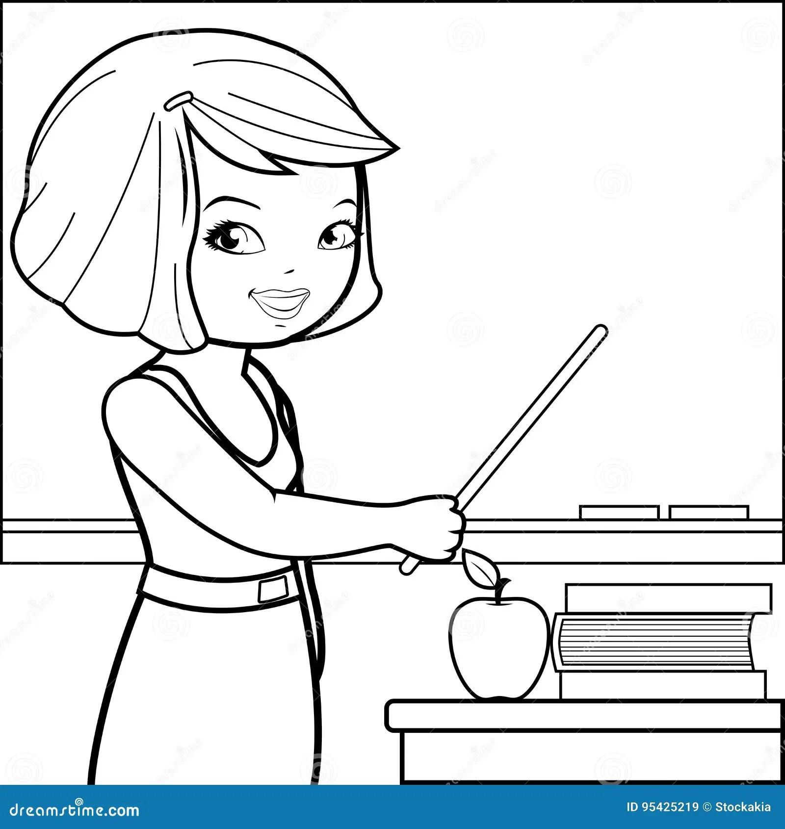 Ensino Do Professor Na Classe Pagina Do Livro Para Colorir Ilustracao Do Vetor