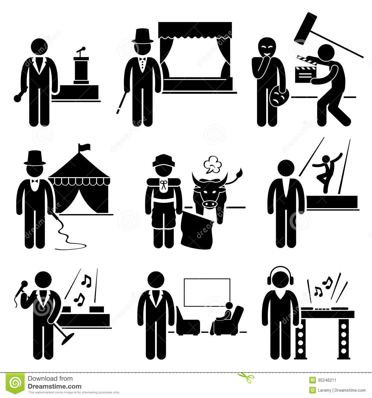 Entertainment Artist Jobs Occupations Careers Stock Vector