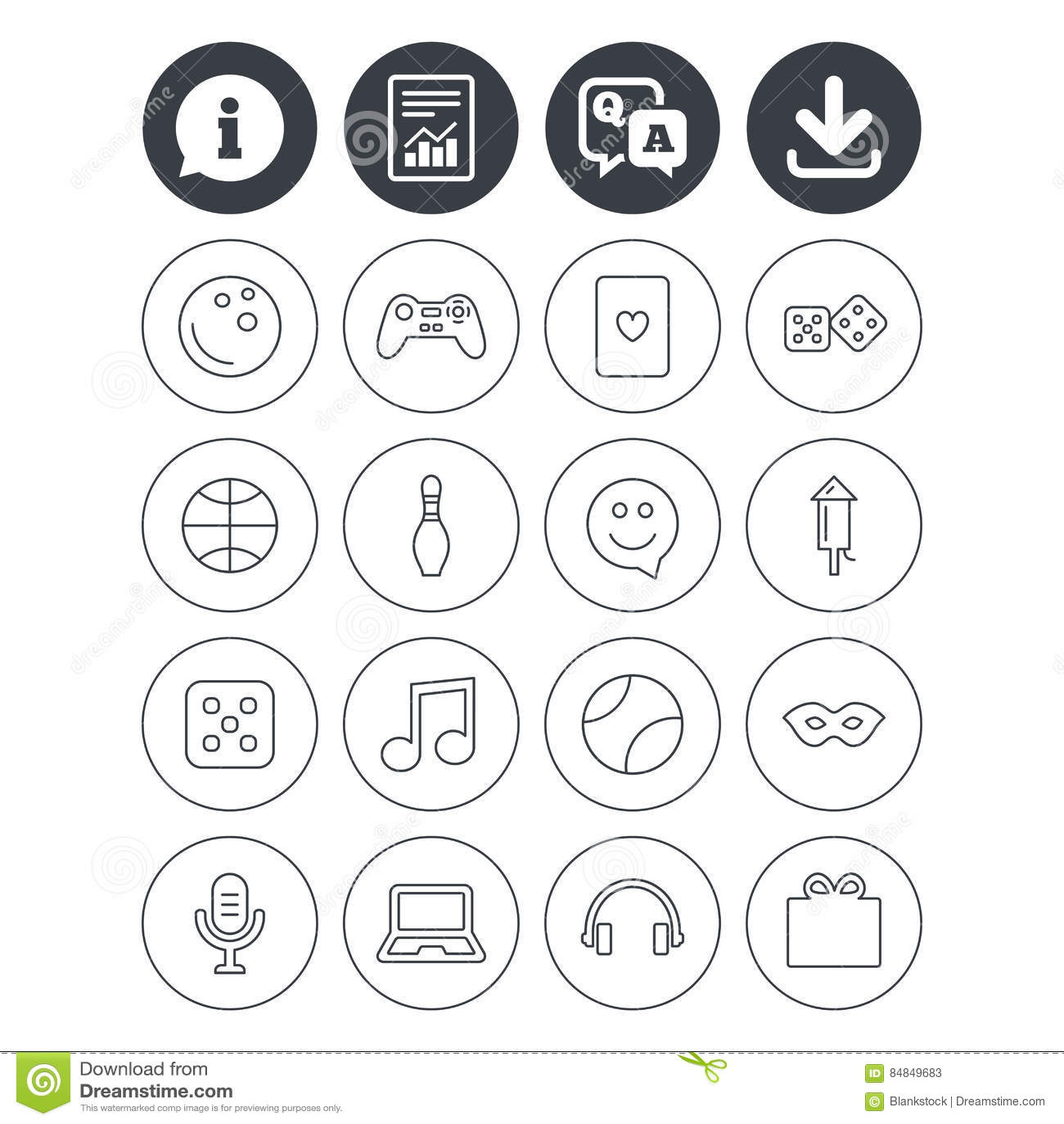 Entertainment Icons Game Joystick Microphone Stock