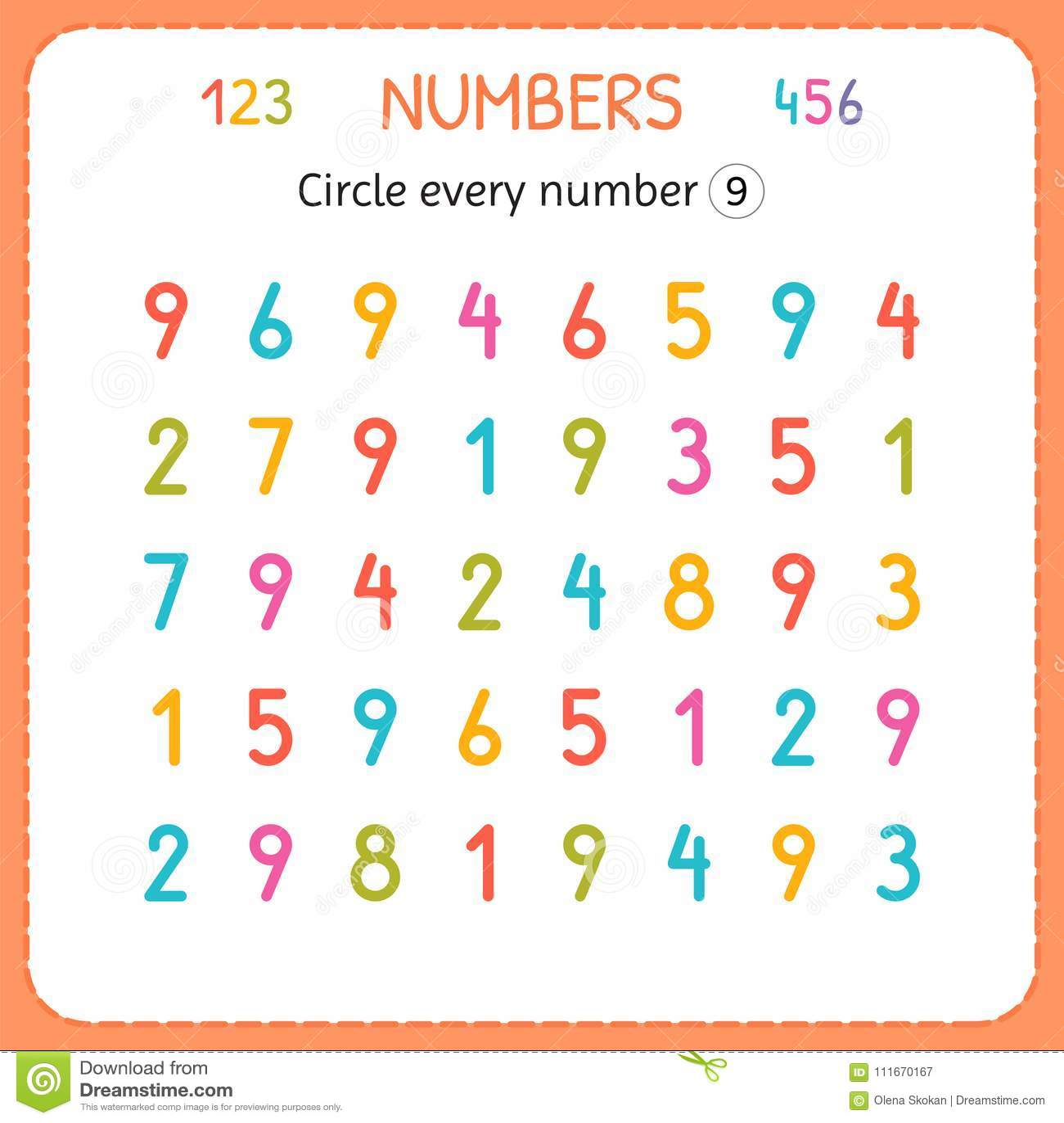 Entourez Chaque Numero Neuf Nombres Pour Des Enfants Fiche