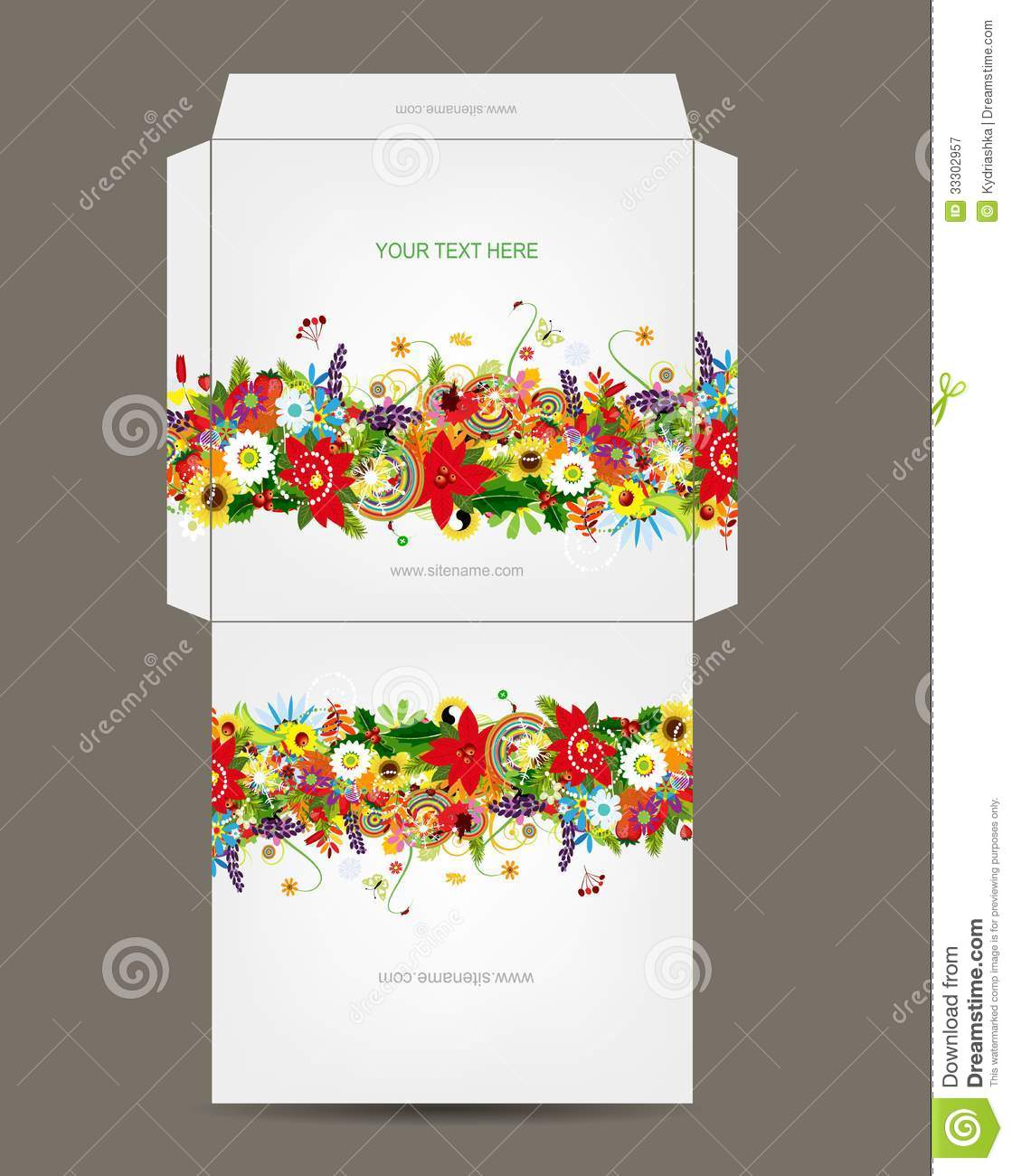 Envelope Template Floral Design Royalty Free Stock Photography Image 33302957