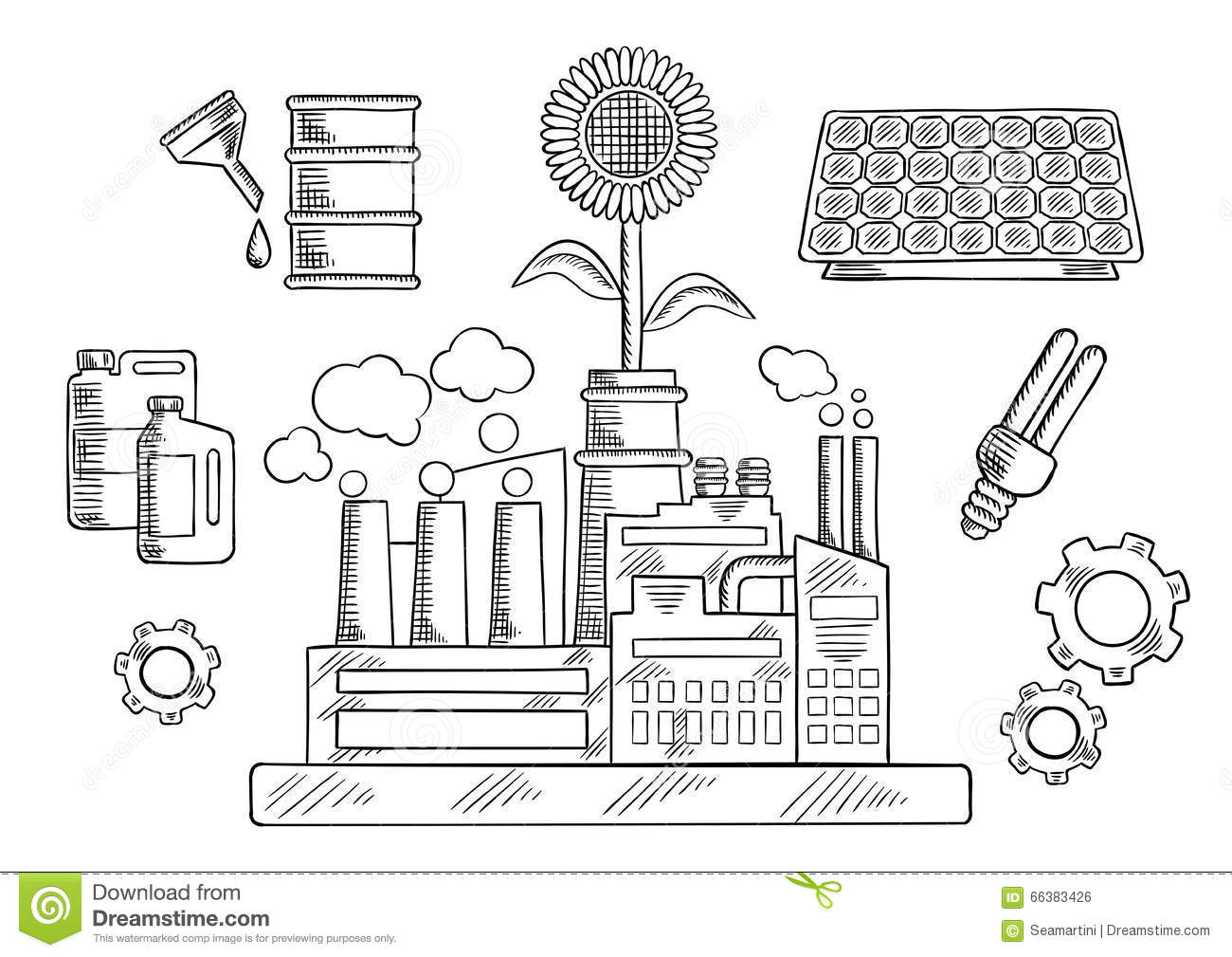 Environment Concept With Industrial Plant Stock Vector