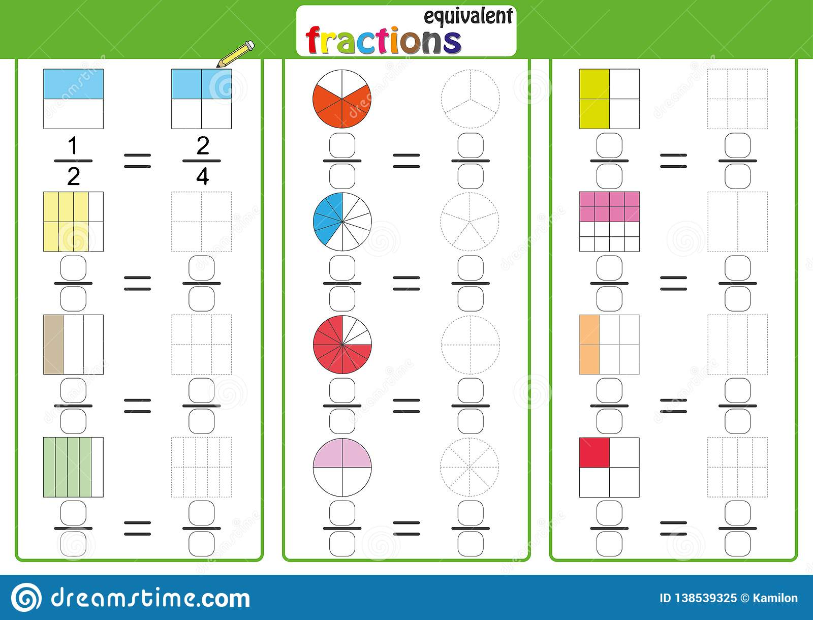 Equivalent Frantions Mathematics Math Worksheet Find