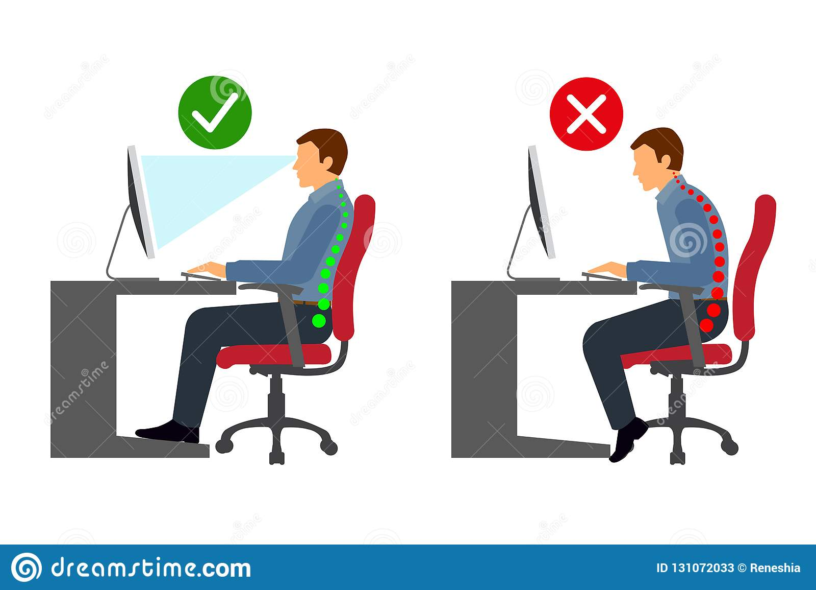 Ergonomics At Workplace Man Correct Sitting Posture Stock