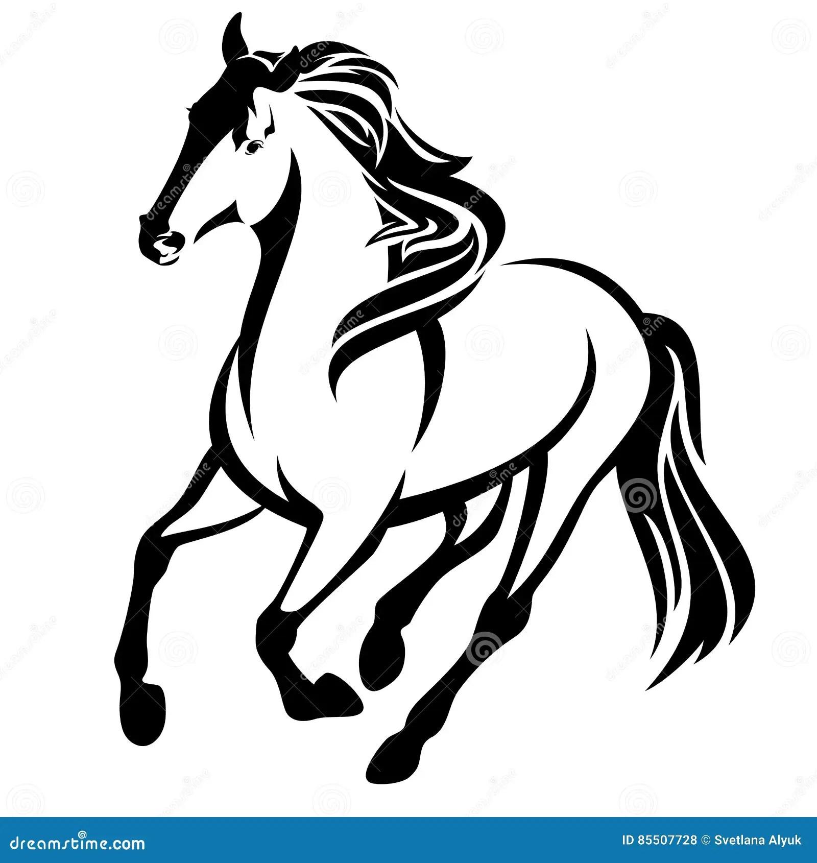 Esboco Running Do Vetor Do Preto Do Cavalo Ilustracao Do
